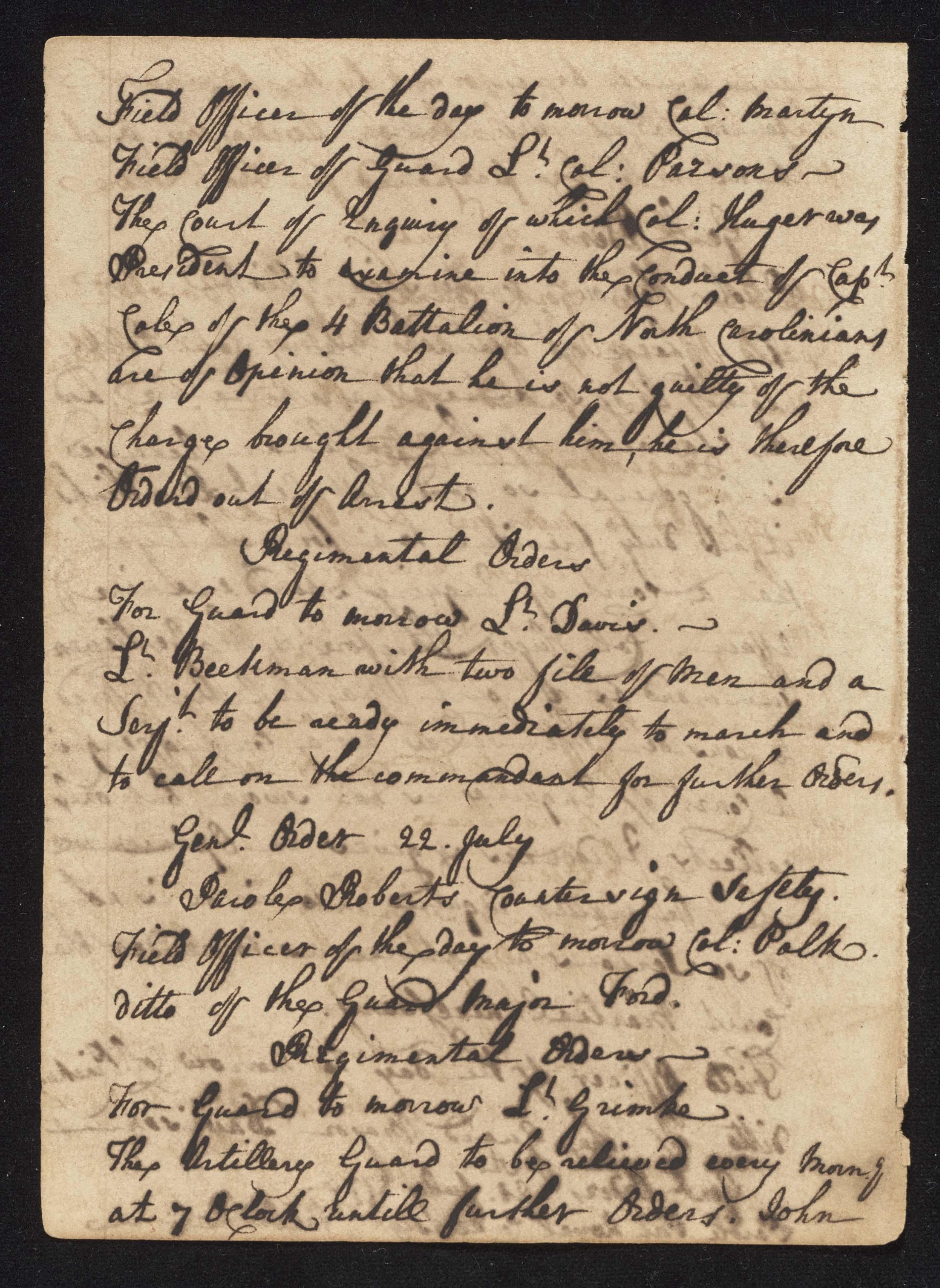 South Carolina Regiment Order Book, Page 146