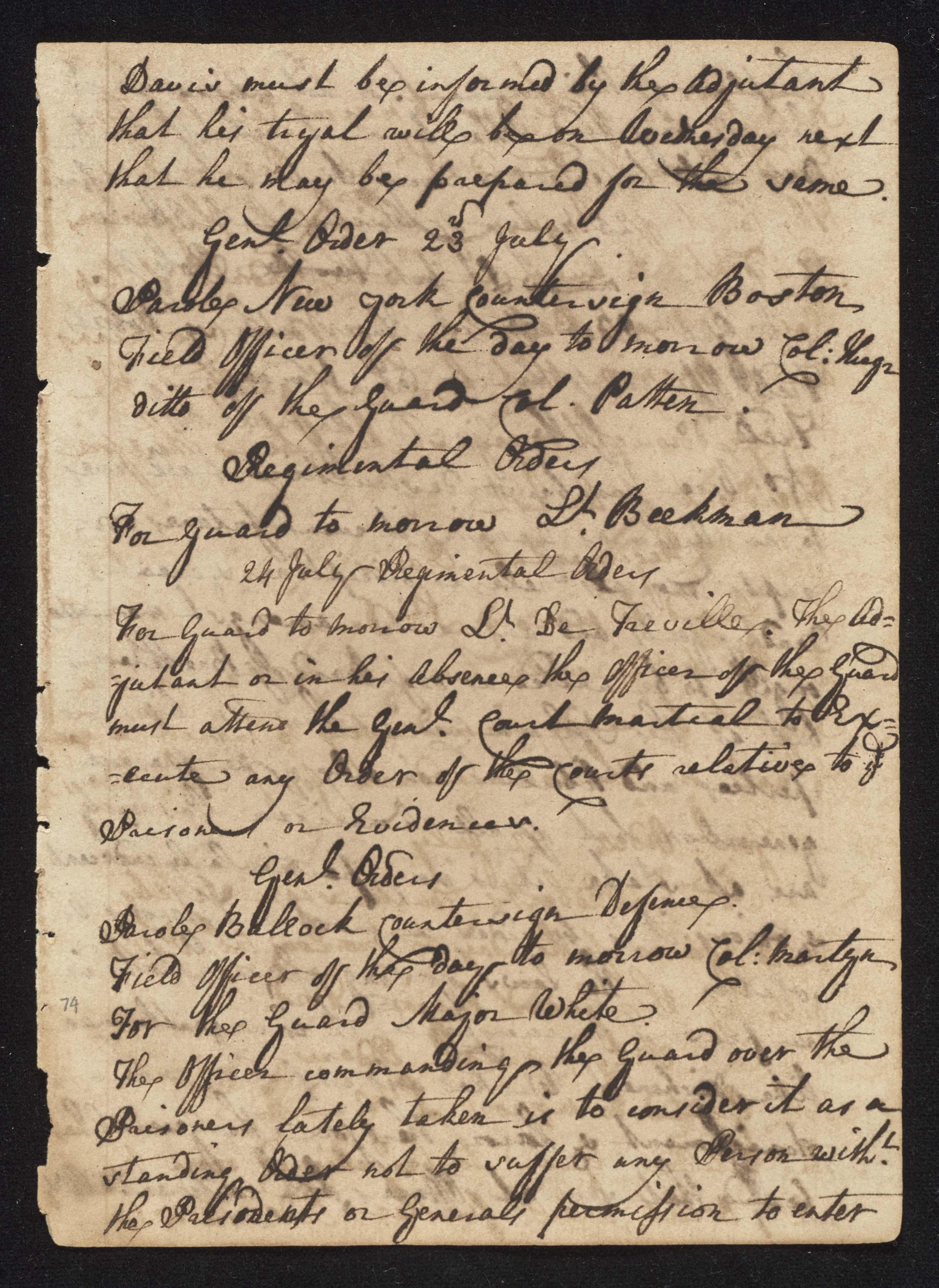 South Carolina Regiment Order Book, Page 147
