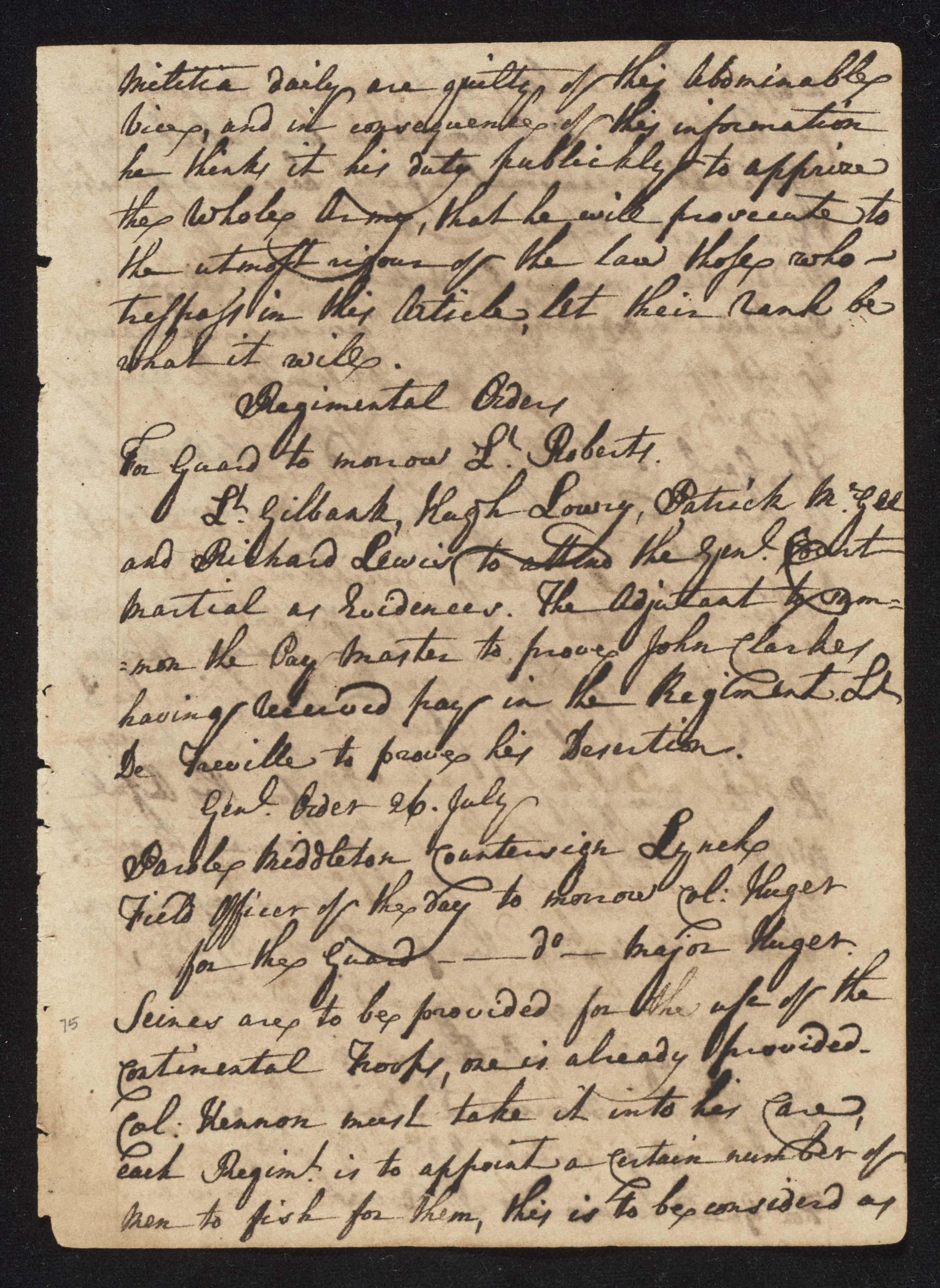 South Carolina Regiment Order Book, Page 149