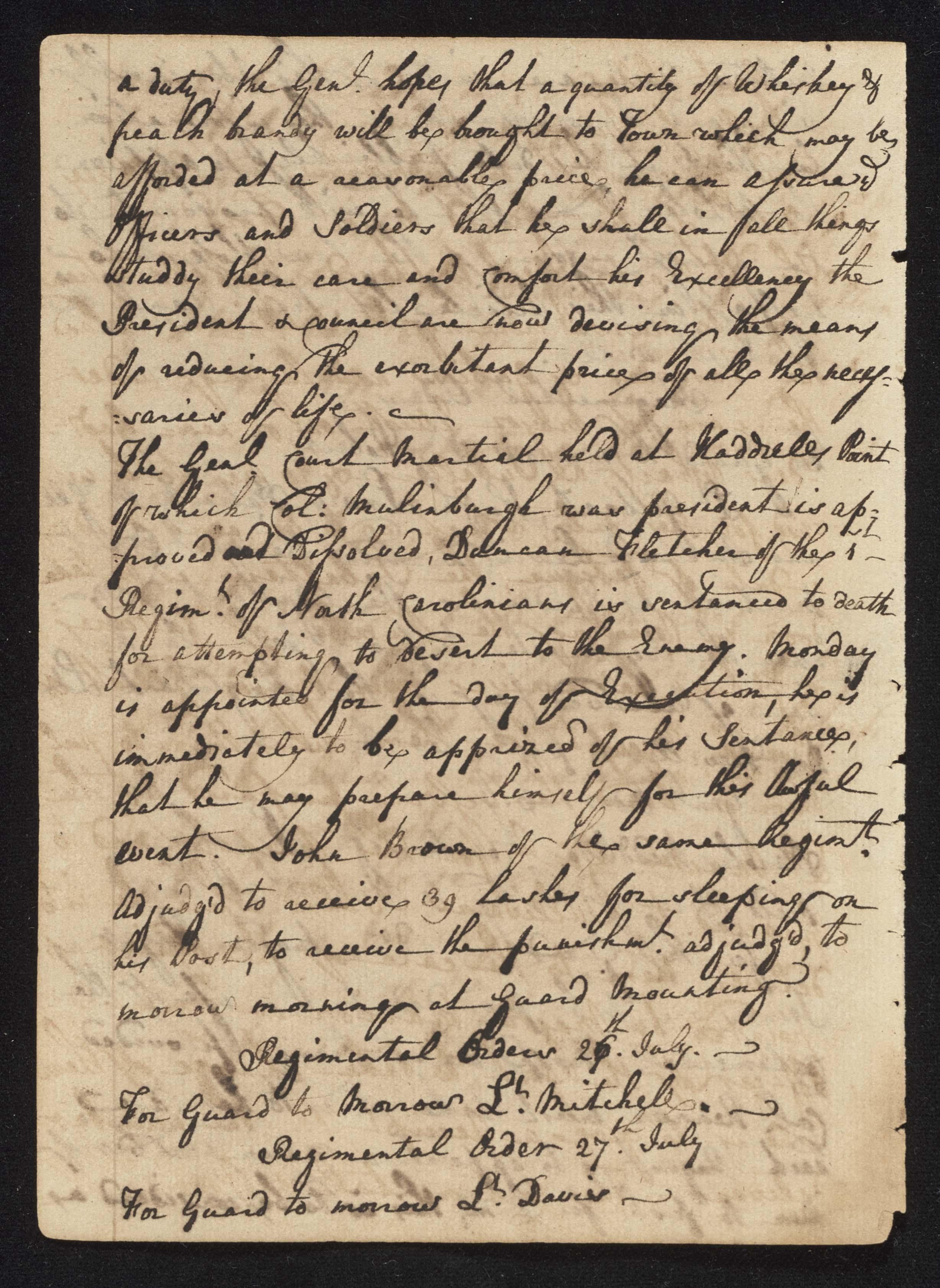 South Carolina Regiment Order Book, Page 150