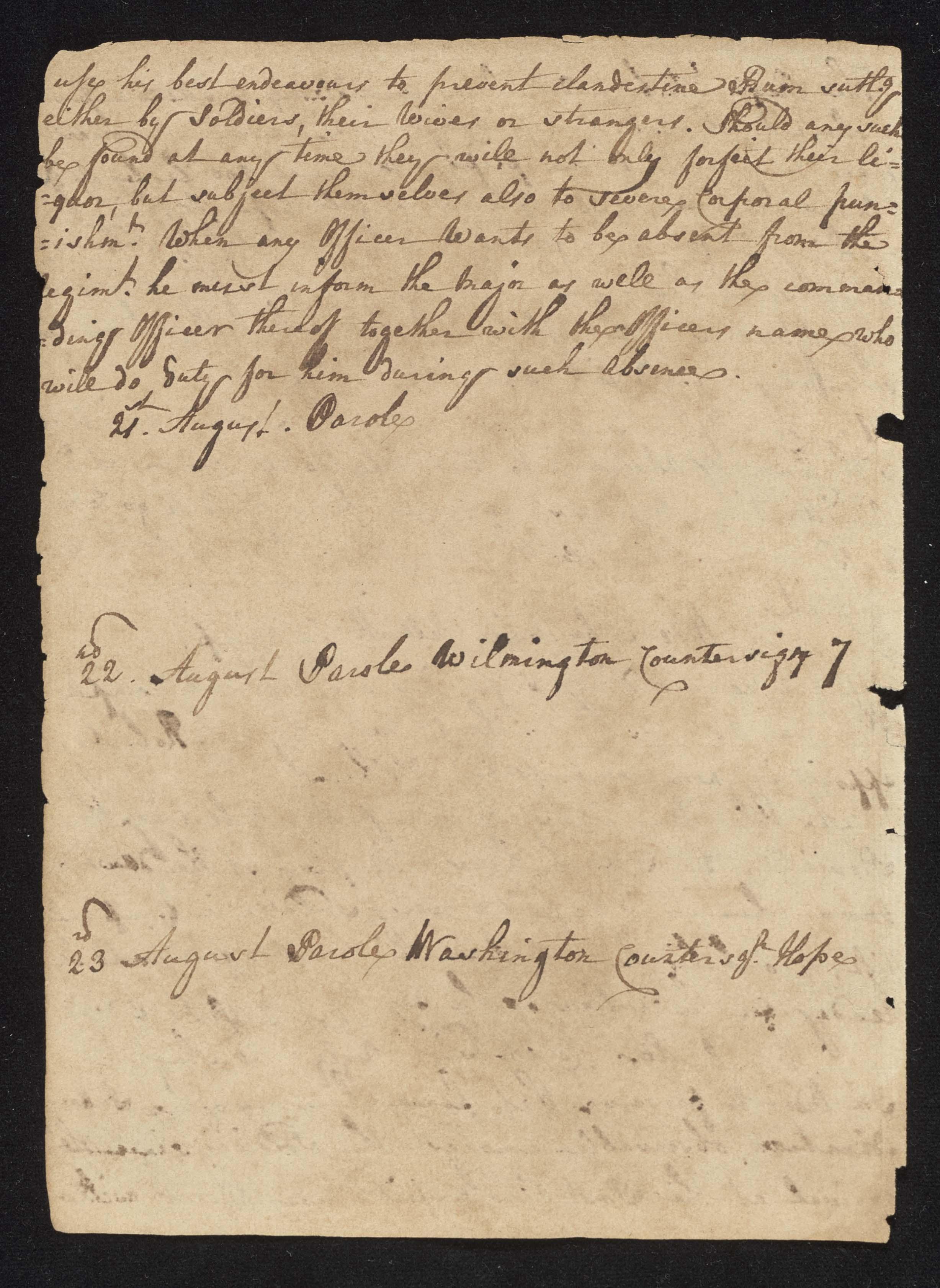South Carolina Regiment Order Book, Page 170