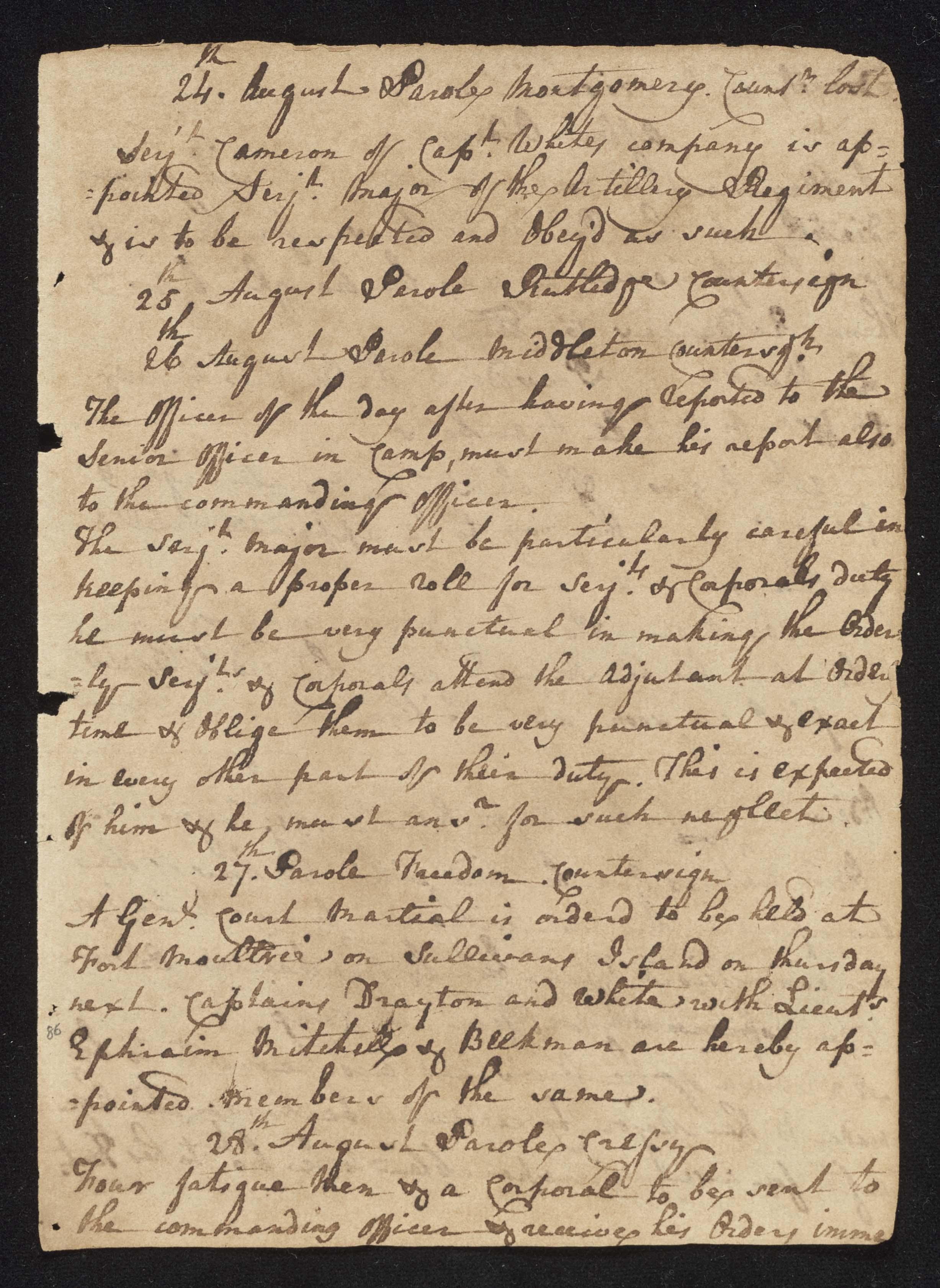 South Carolina Regiment Order Book, Page 171