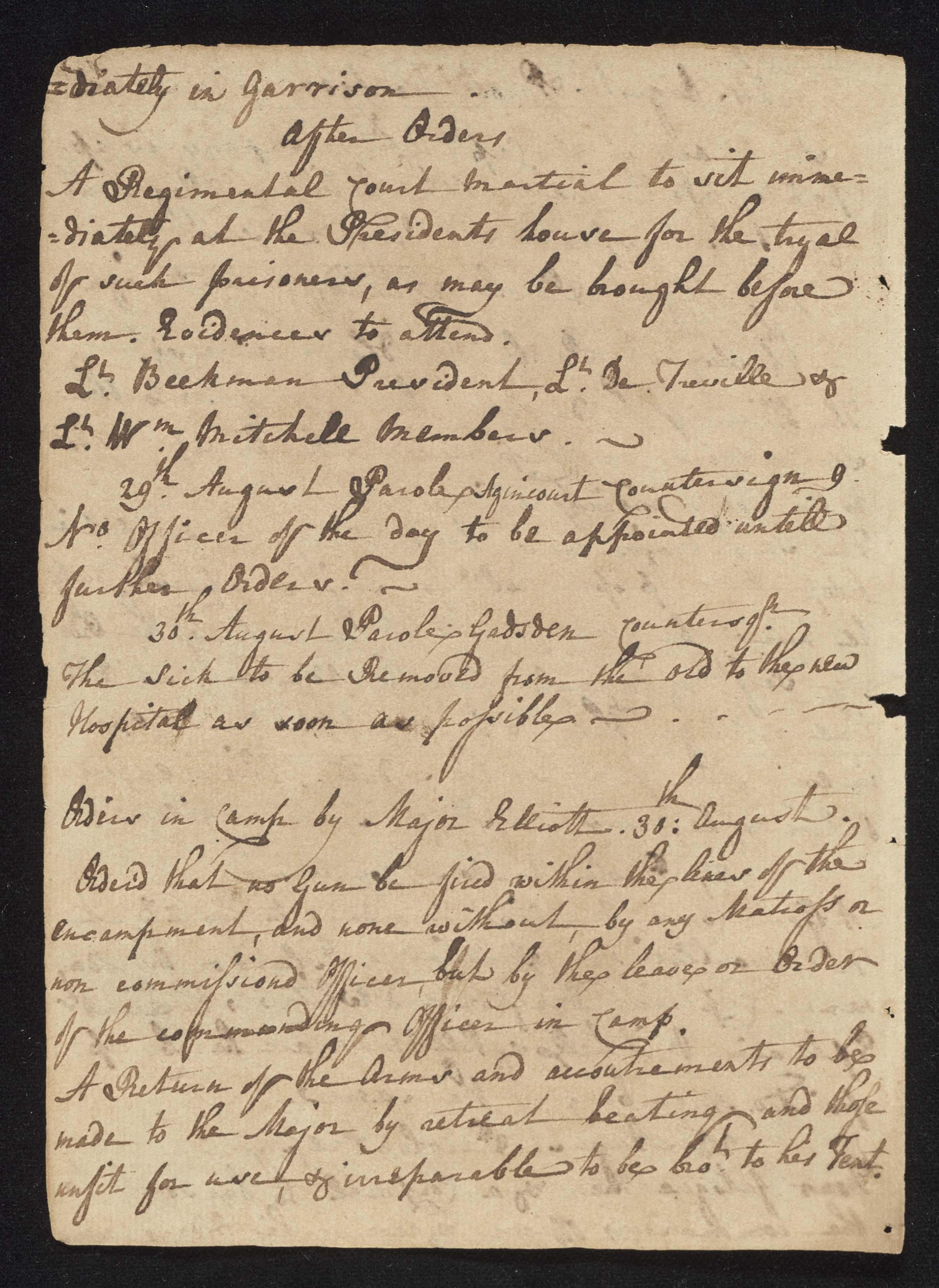 South Carolina Regiment Order Book, Page 172