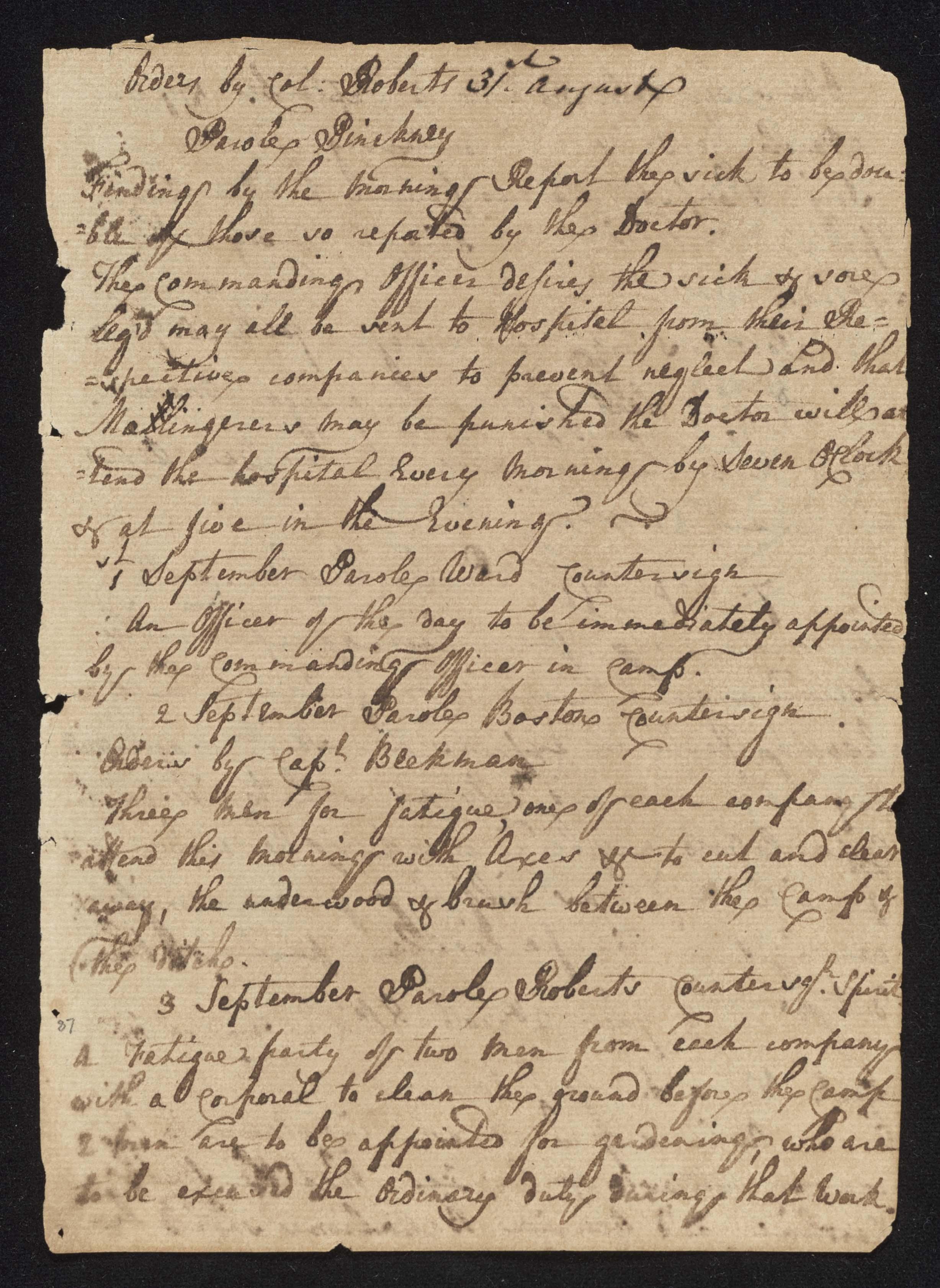 South Carolina Regiment Order Book, Page 173
