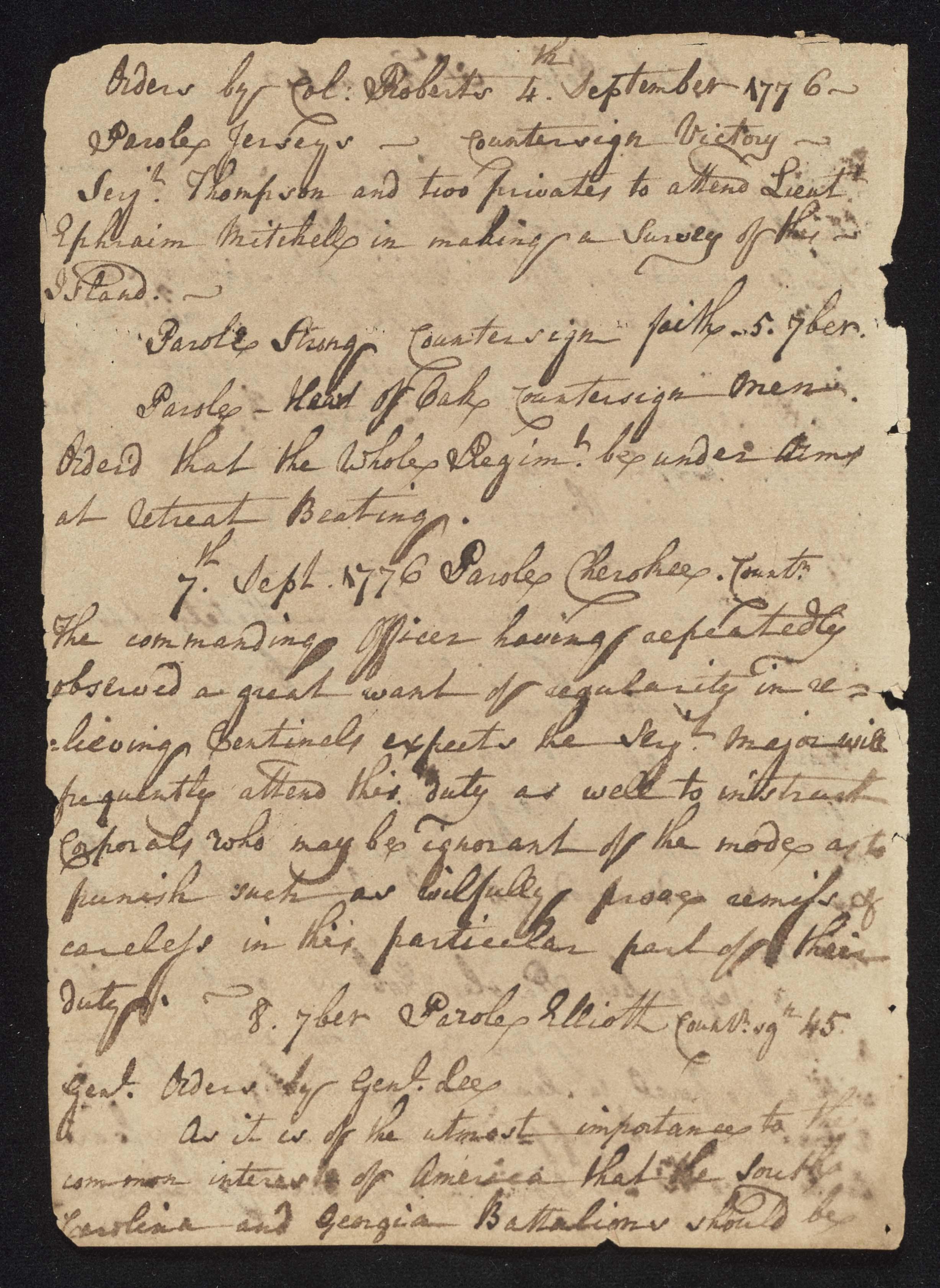 South Carolina Regiment Order Book, Page 174