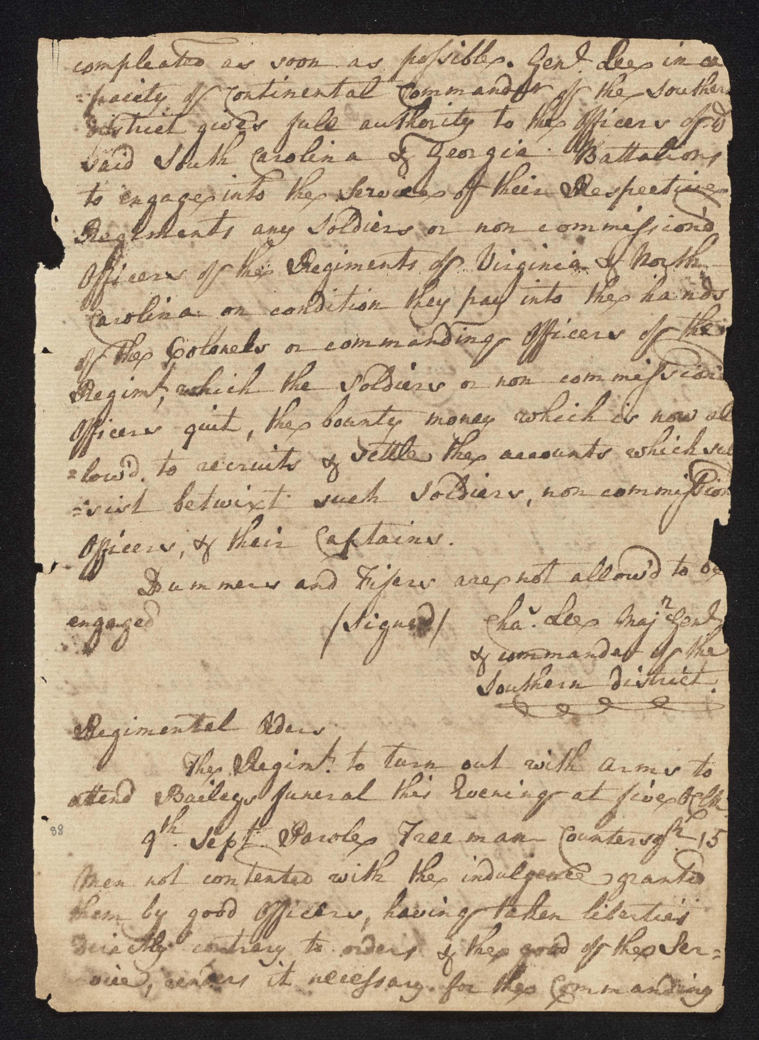 South Carolina Regiment Order Book, Page 175