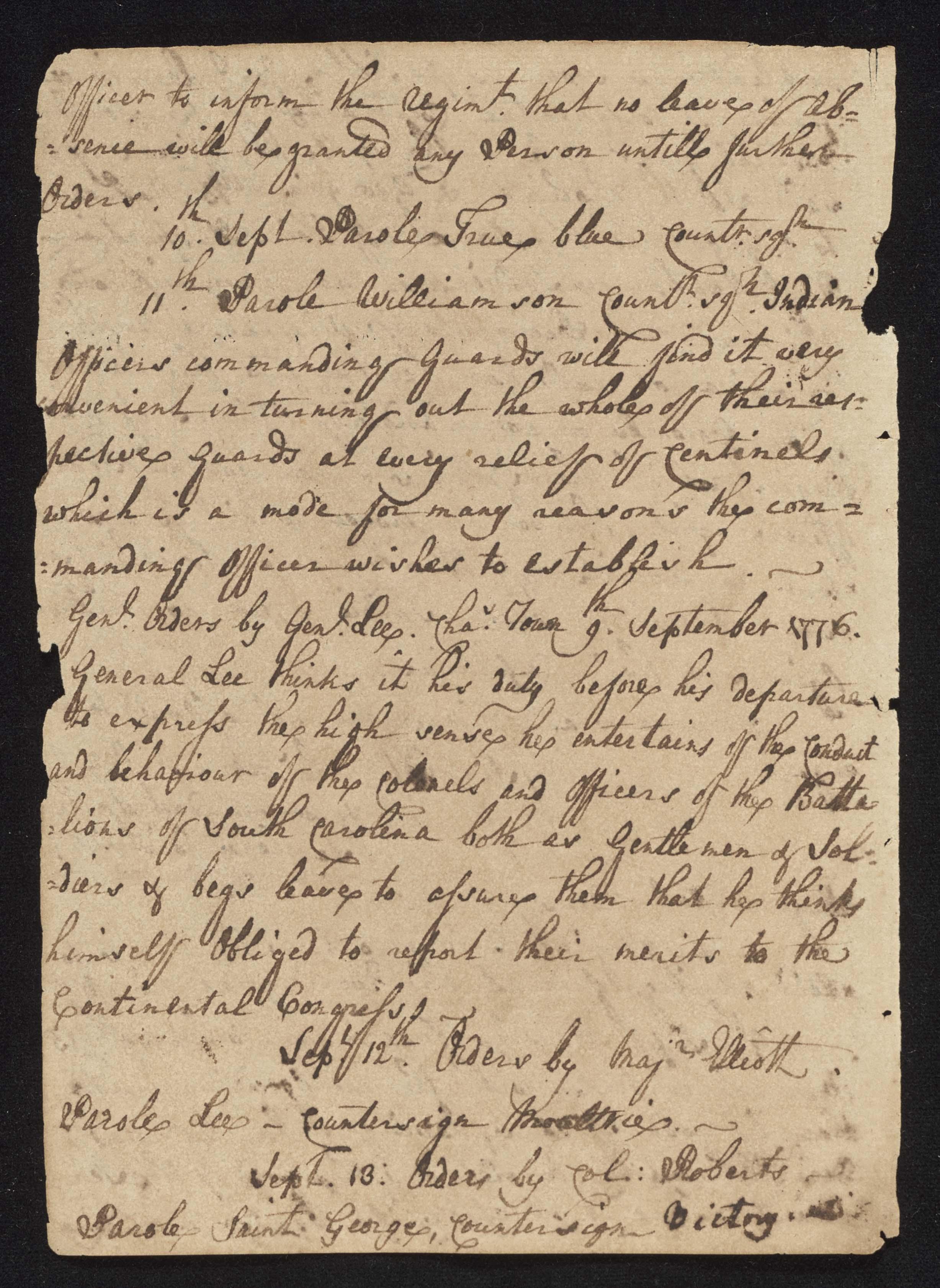 South Carolina Regiment Order Book, Page 176