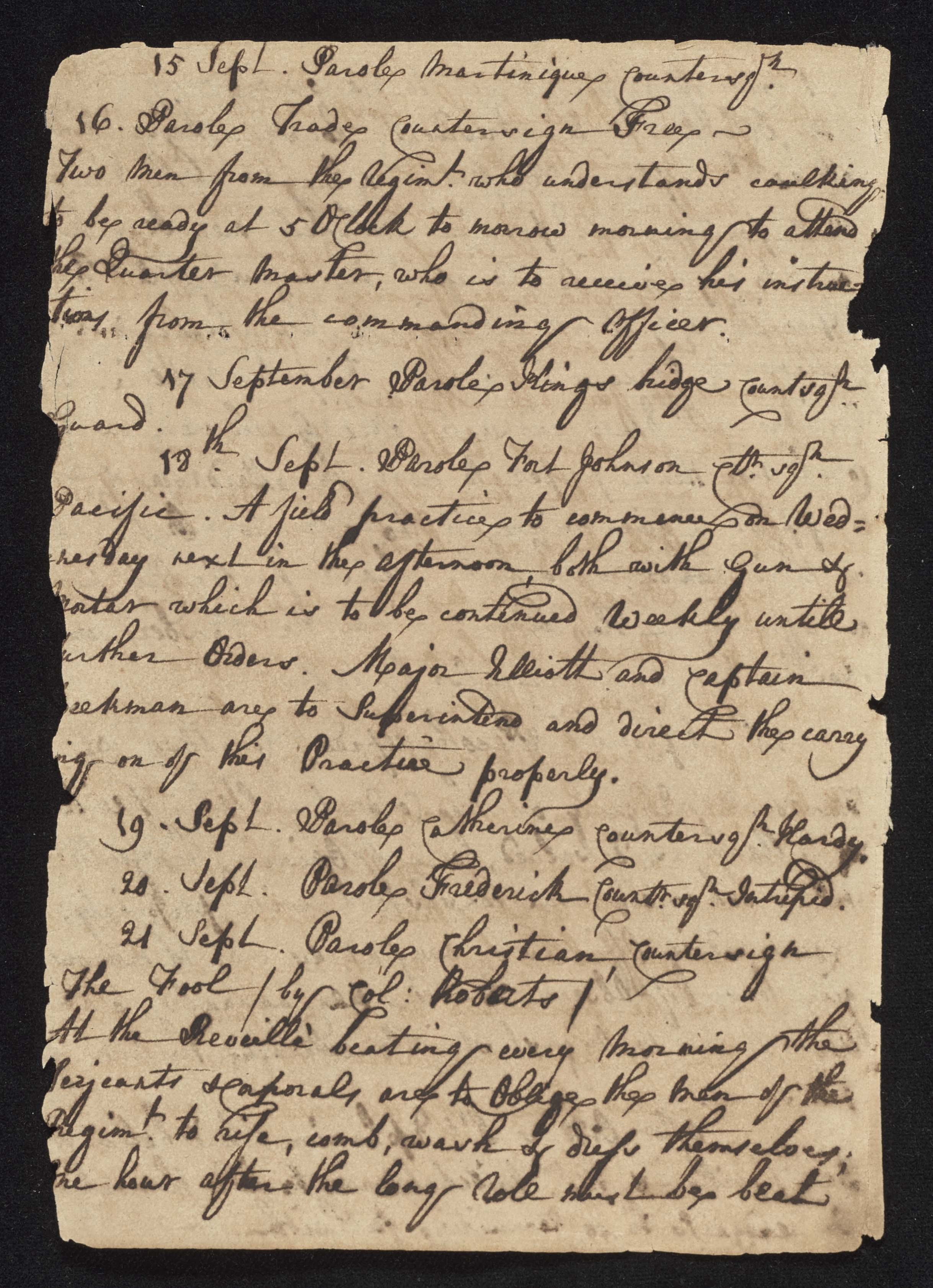 South Carolina Regiment Order Book, Page 178