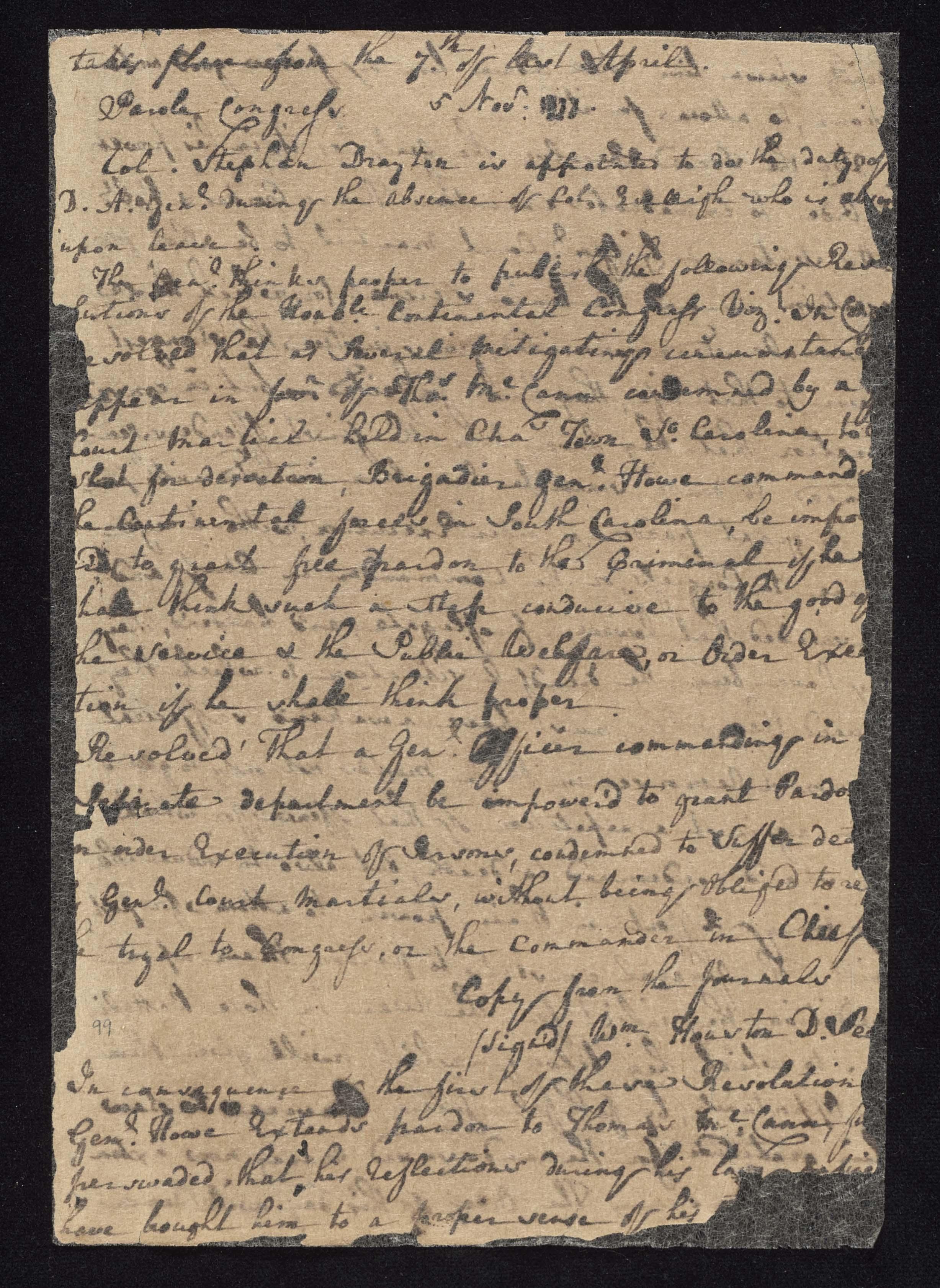 South Carolina Regiment Order Book, Page 197
