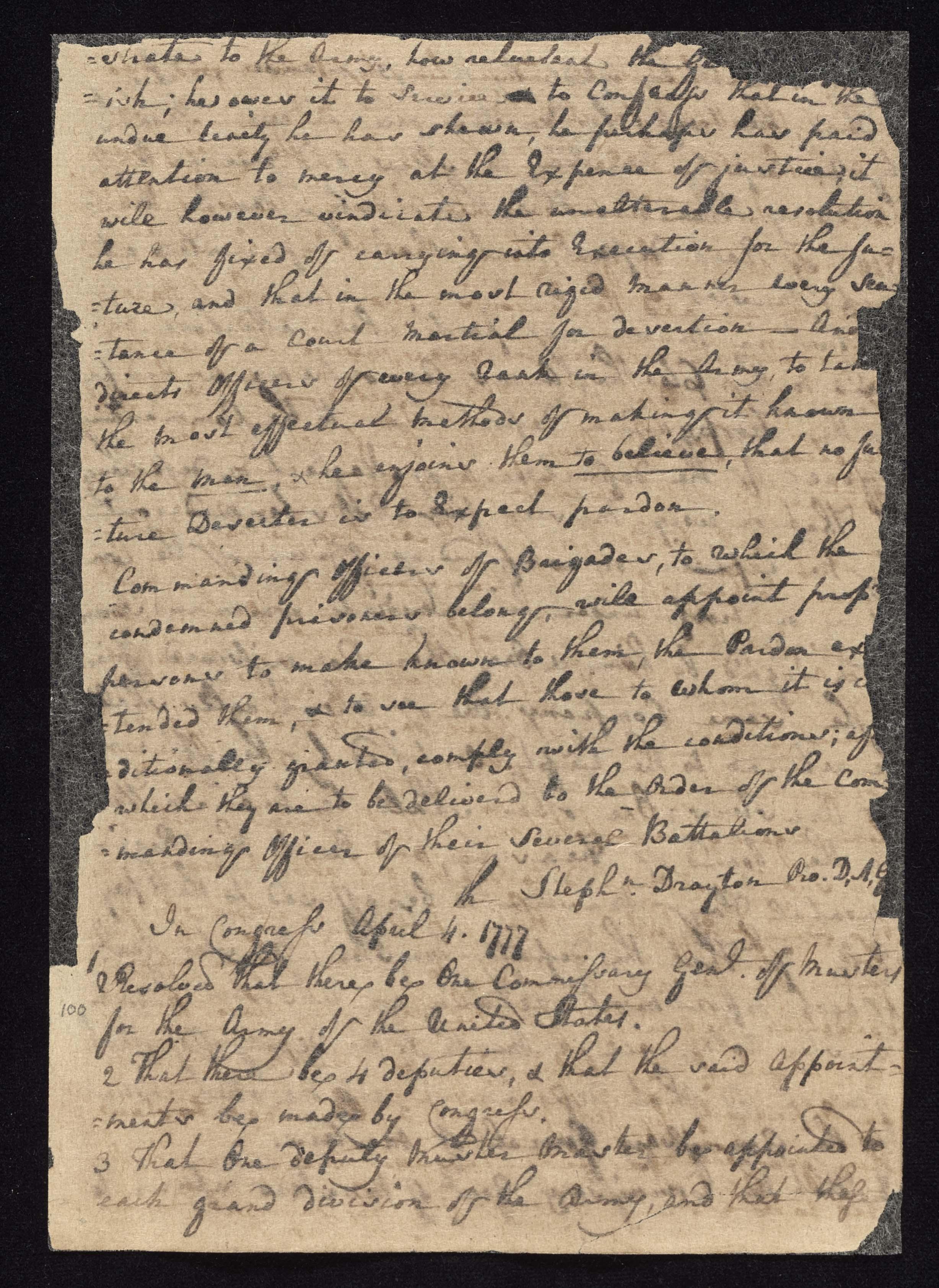South Carolina Regiment Order Book, Page 199