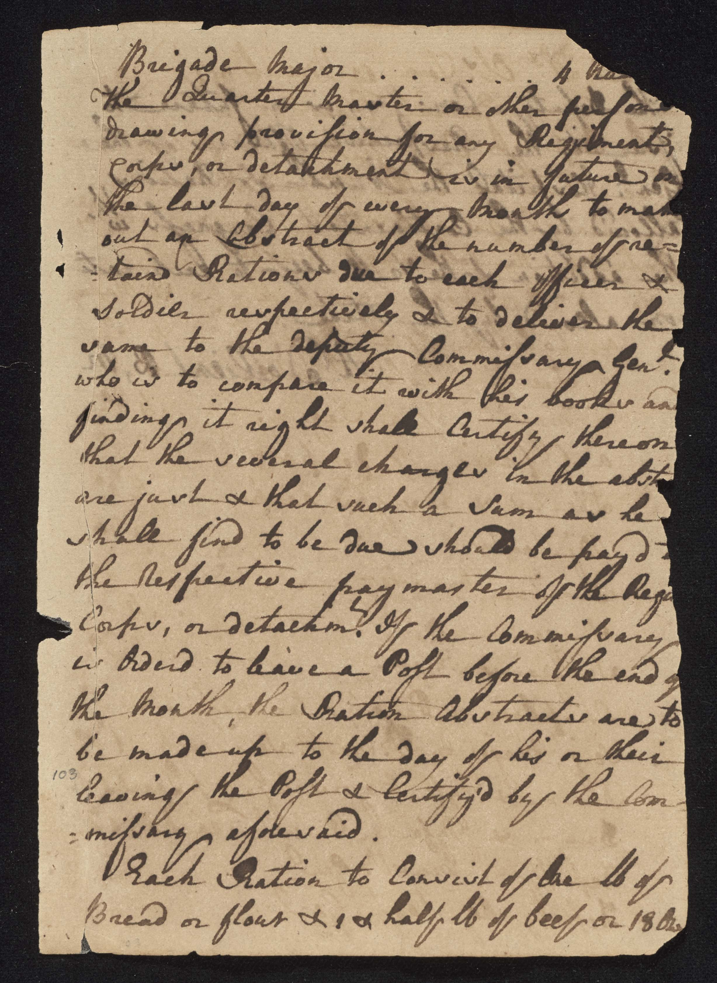 South Carolina Regiment Order Book, Page 205