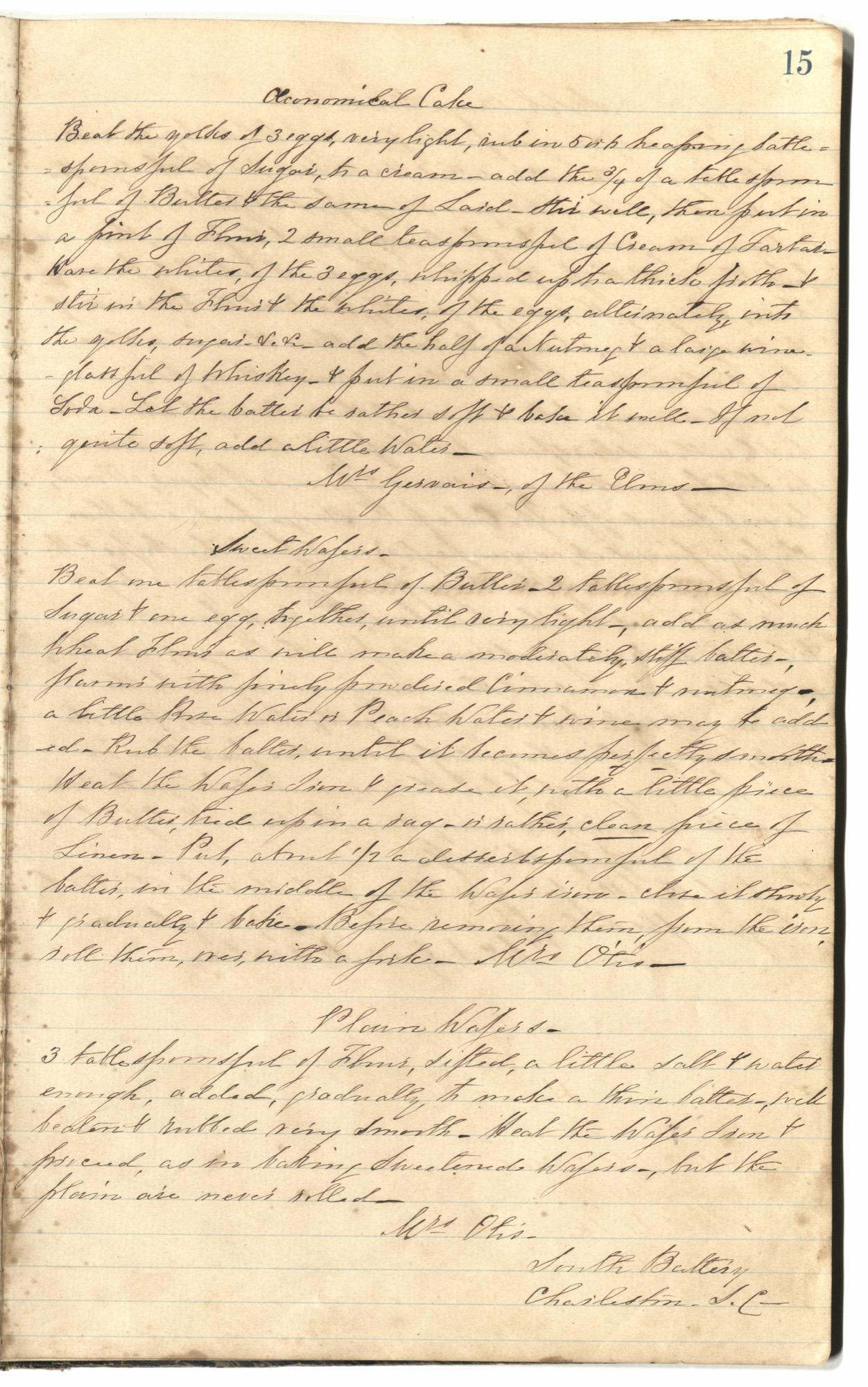 Mary Motte Alston Pringle Receipt Book, Page 19