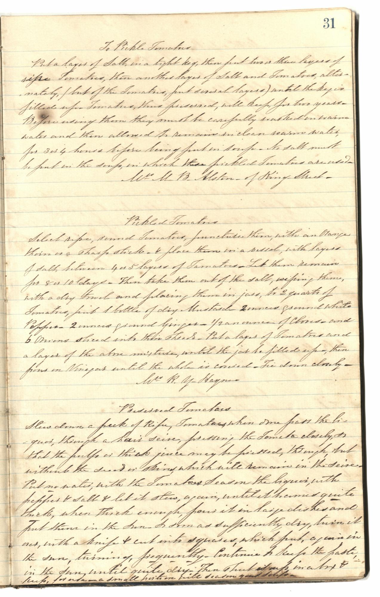 Mary Motte Alston Pringle Receipt Book, Page 35