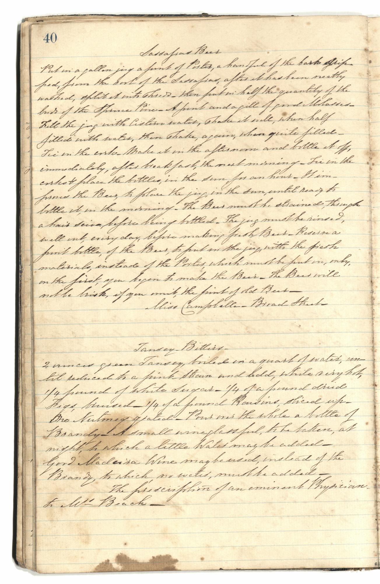 Mary Motte Alston Pringle Receipt Book, Page 44
