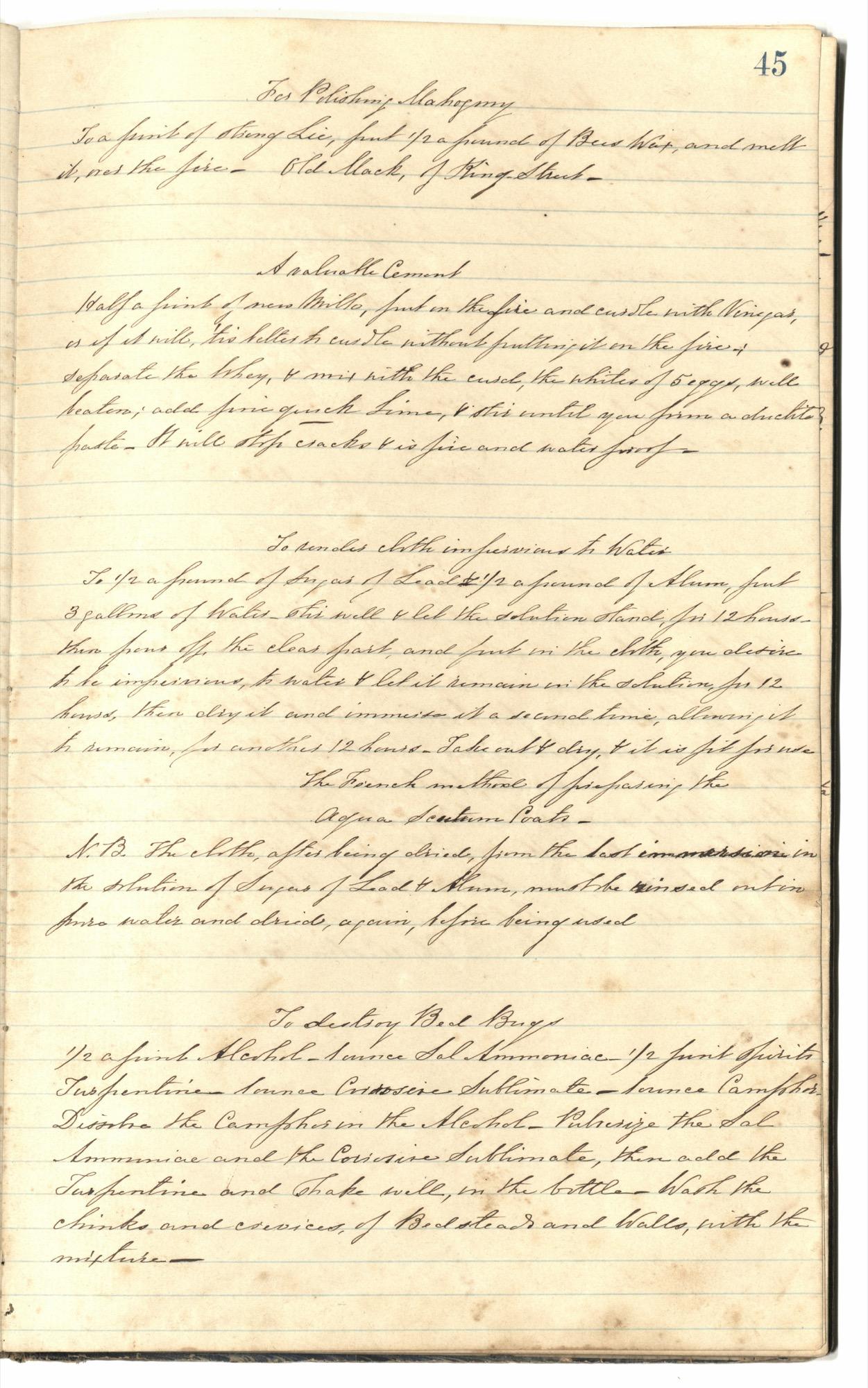 Mary Motte Alston Pringle Receipt Book, Page 49