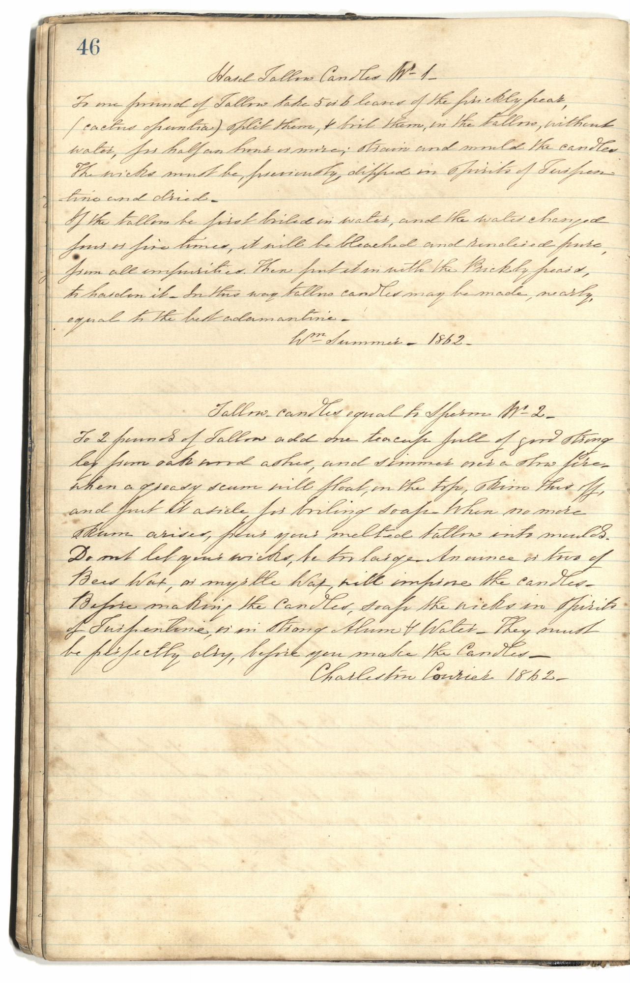 Mary Motte Alston Pringle Receipt Book, Page 50