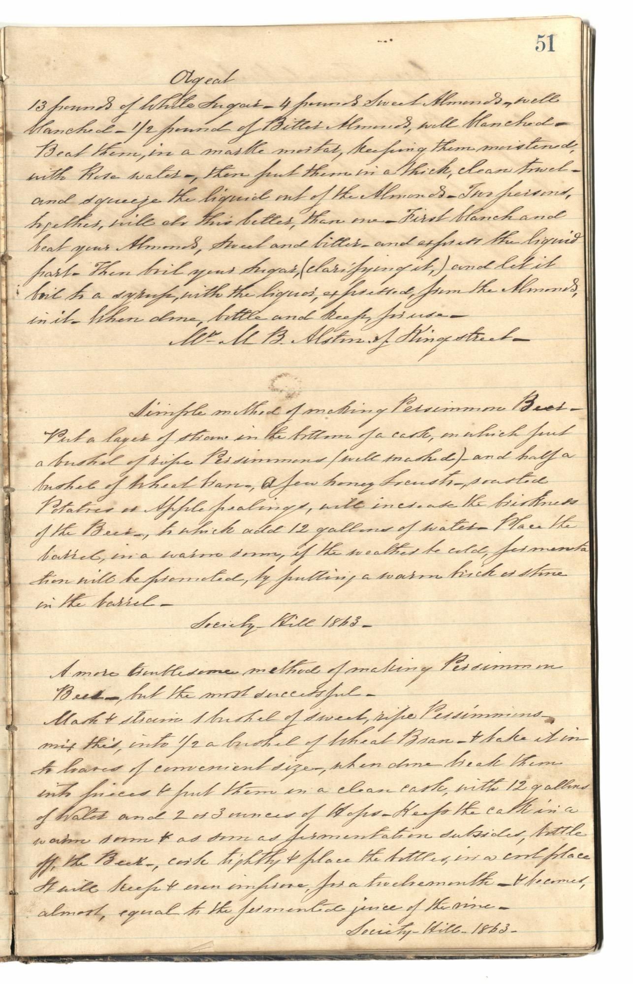 Mary Motte Alston Pringle Receipt Book, Page 55