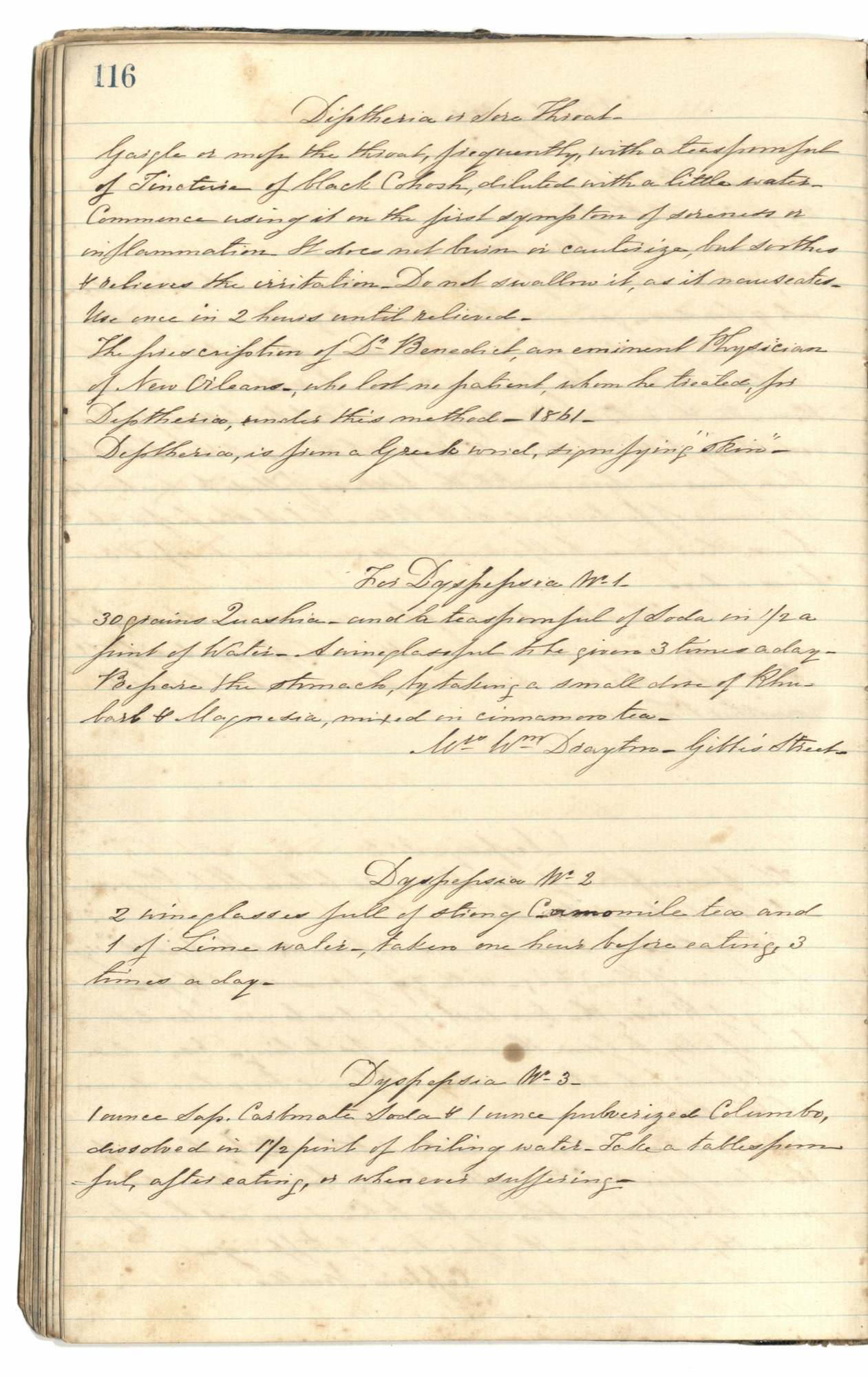 Mary Motte Alston Pringle Receipt Book, Page 101
