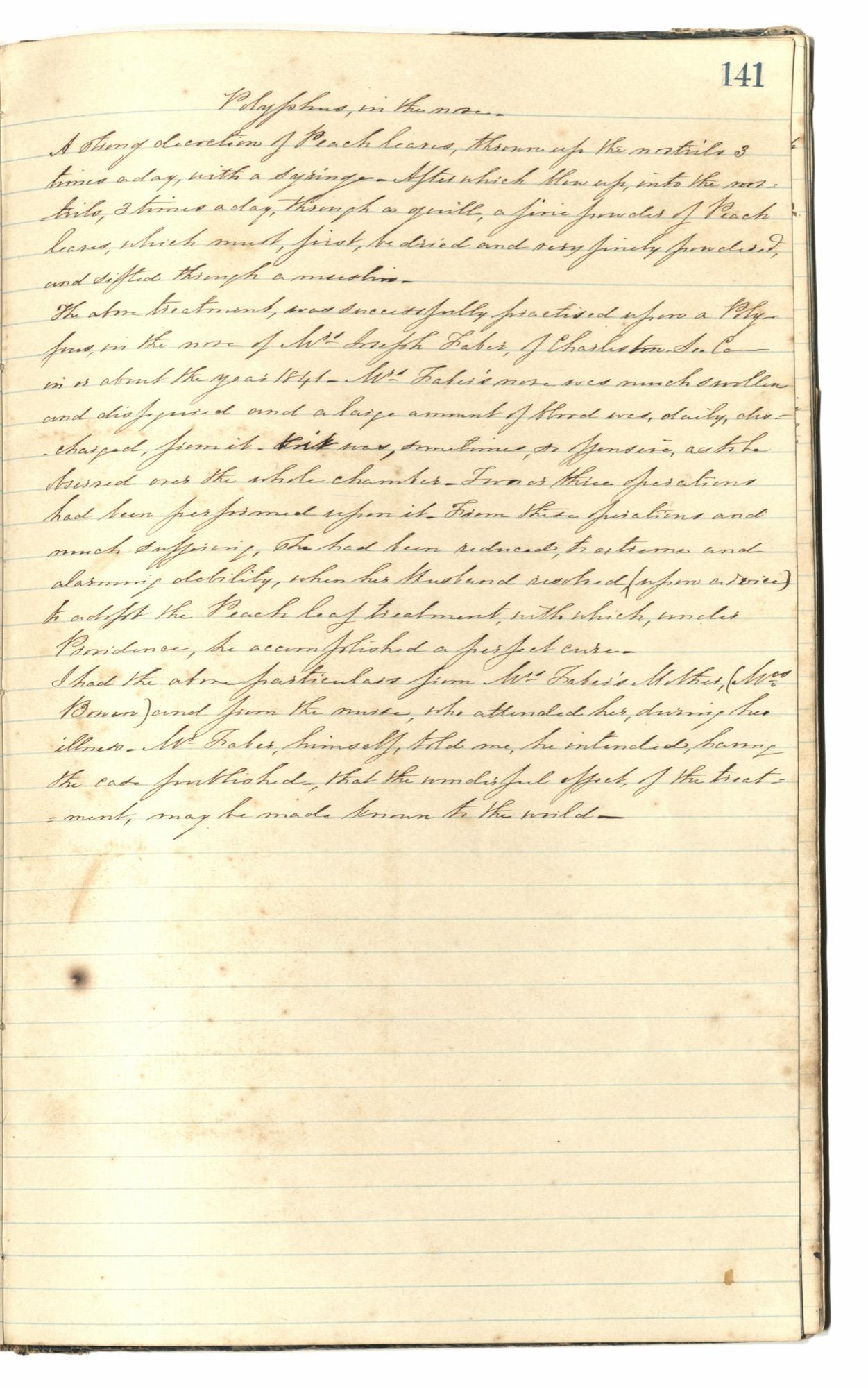 Mary Motte Alston Pringle Receipt Book, Page 126
