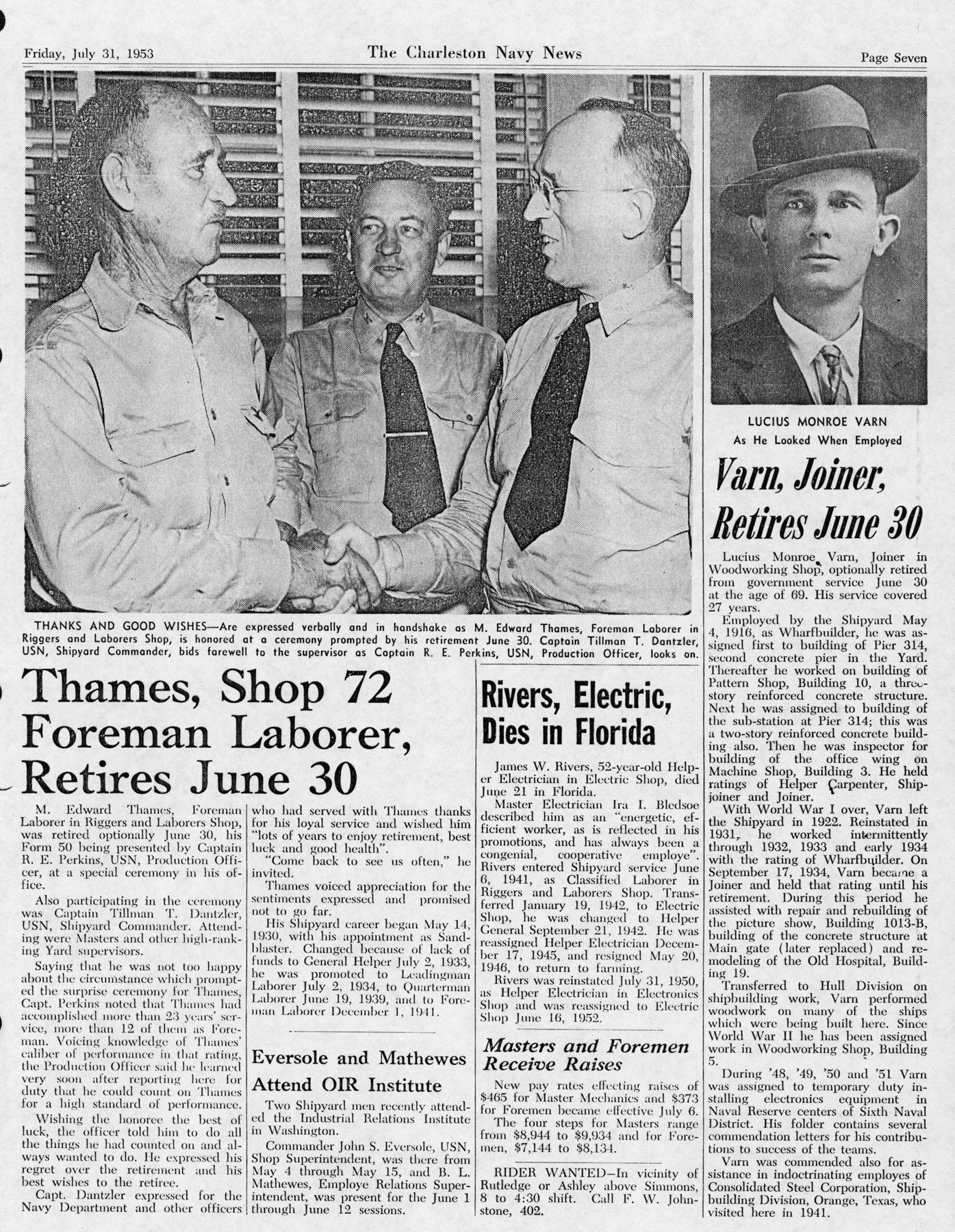 The Charleston Navy News, Volume 12, Edition 1, page vii