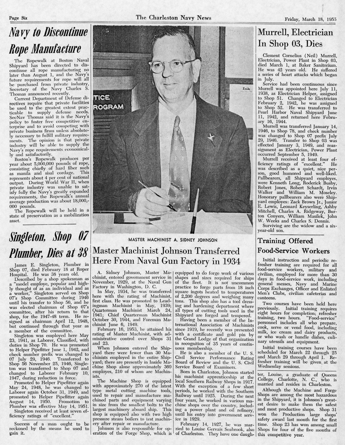 The Charleston Navy News, Volume 13, Edition 18, page vi