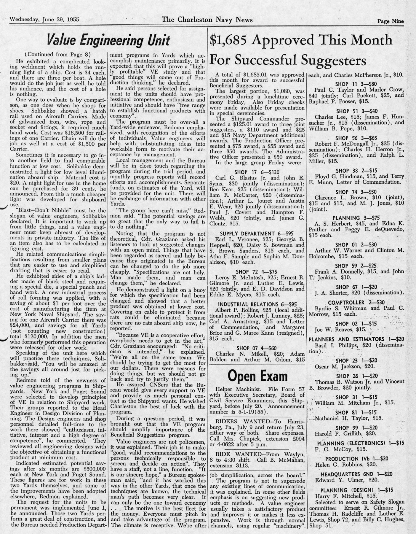 The Charleston Navy News, Volume 13, Edition 25, page ix