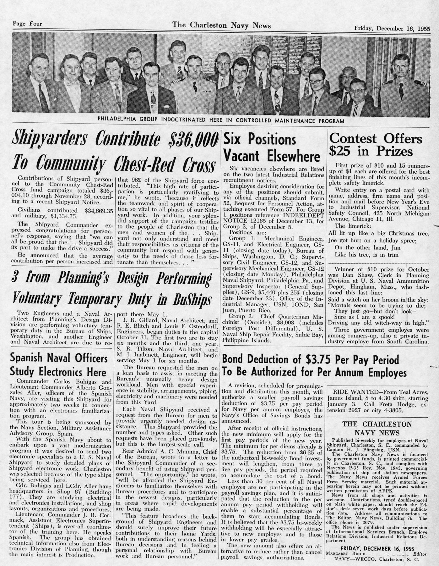 The Charleston Navy News, Volume 14, Edition 11, page iv