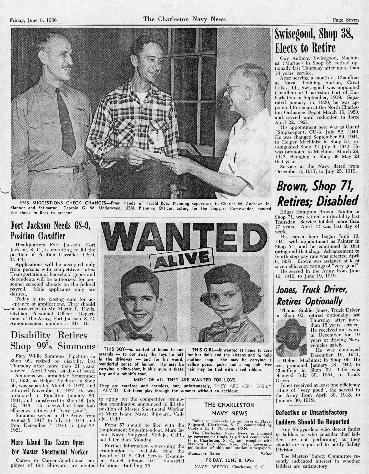The Charleston Navy News, Volume 14, Edition 23, page vii