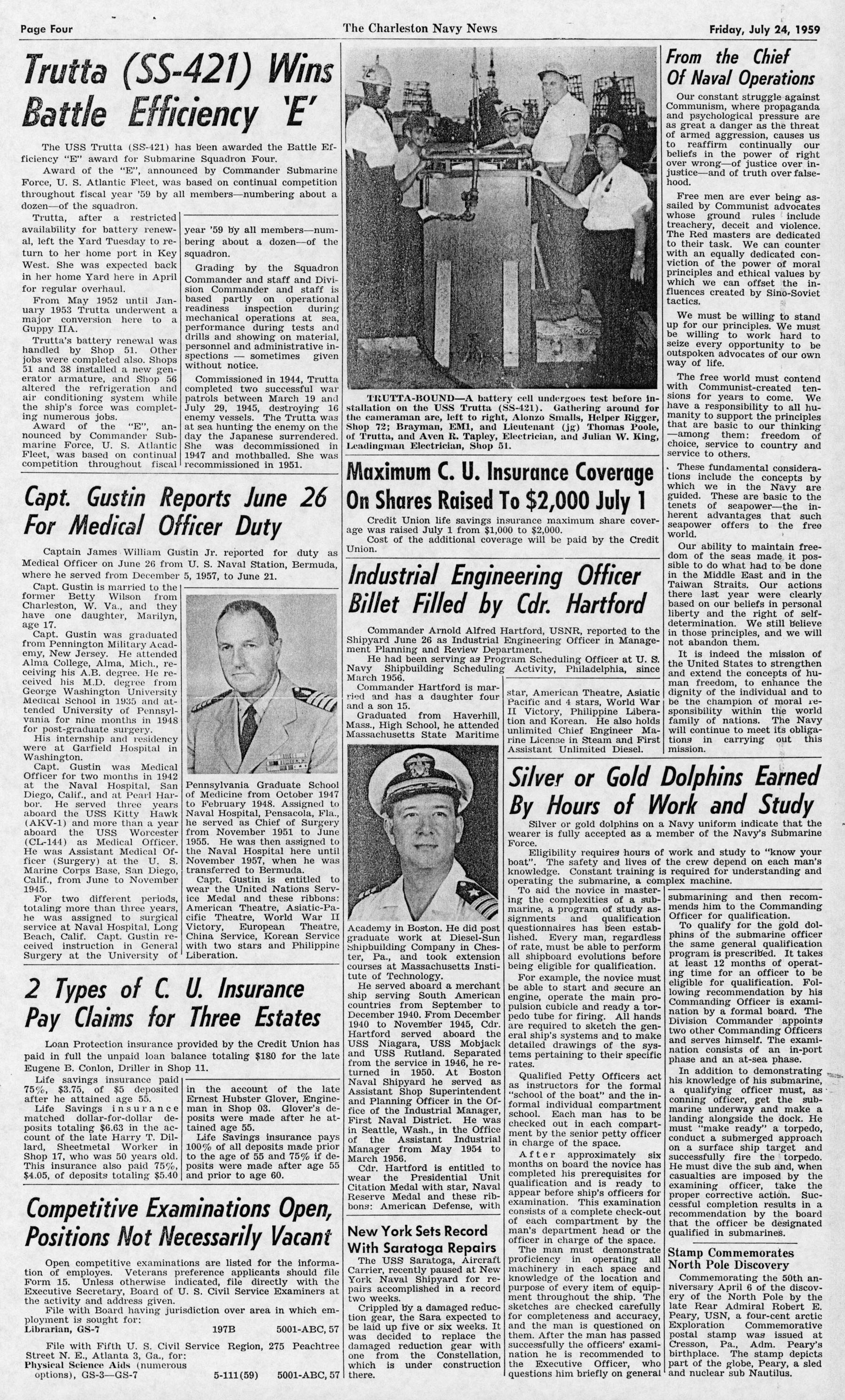 The Charleston Navy News, Volume 18, Edition 1, page iv