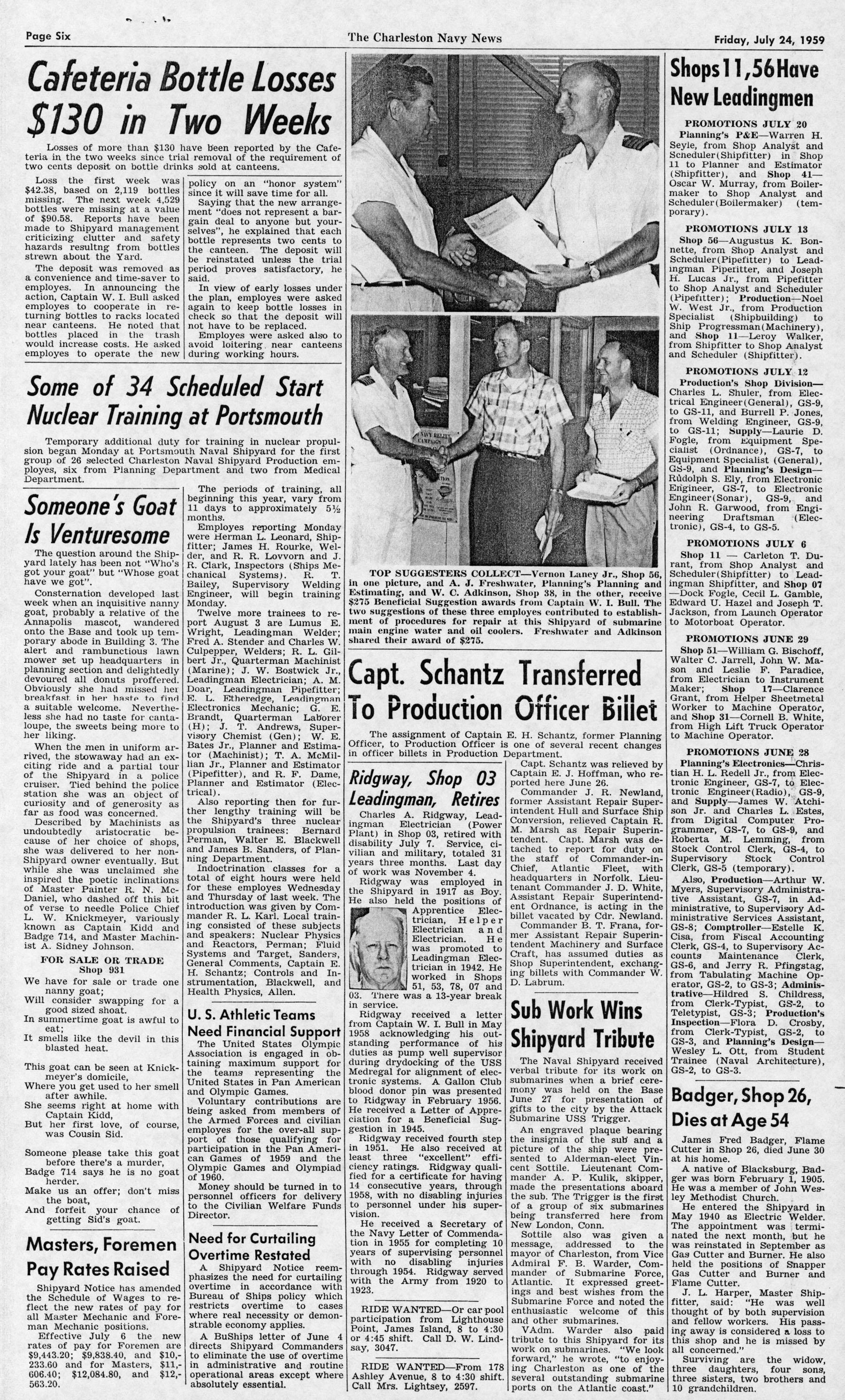 The Charleston Navy News, Volume 18, Edition 1, page vi