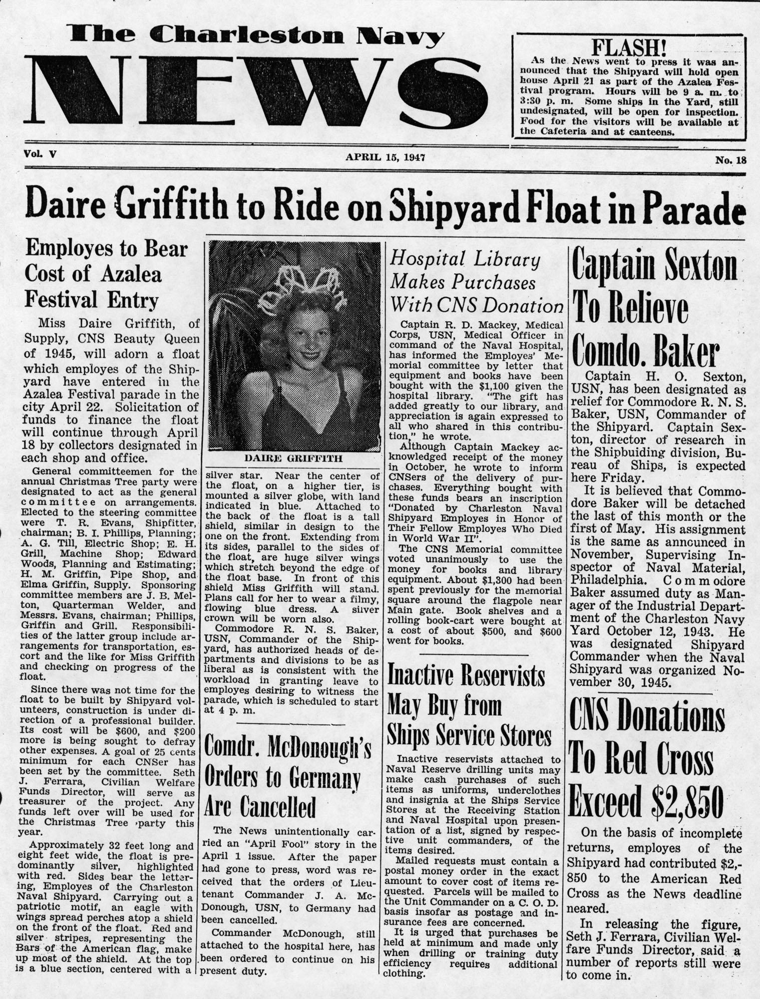 The Charleston Navy News, Volume 5, Edition 18, page i
