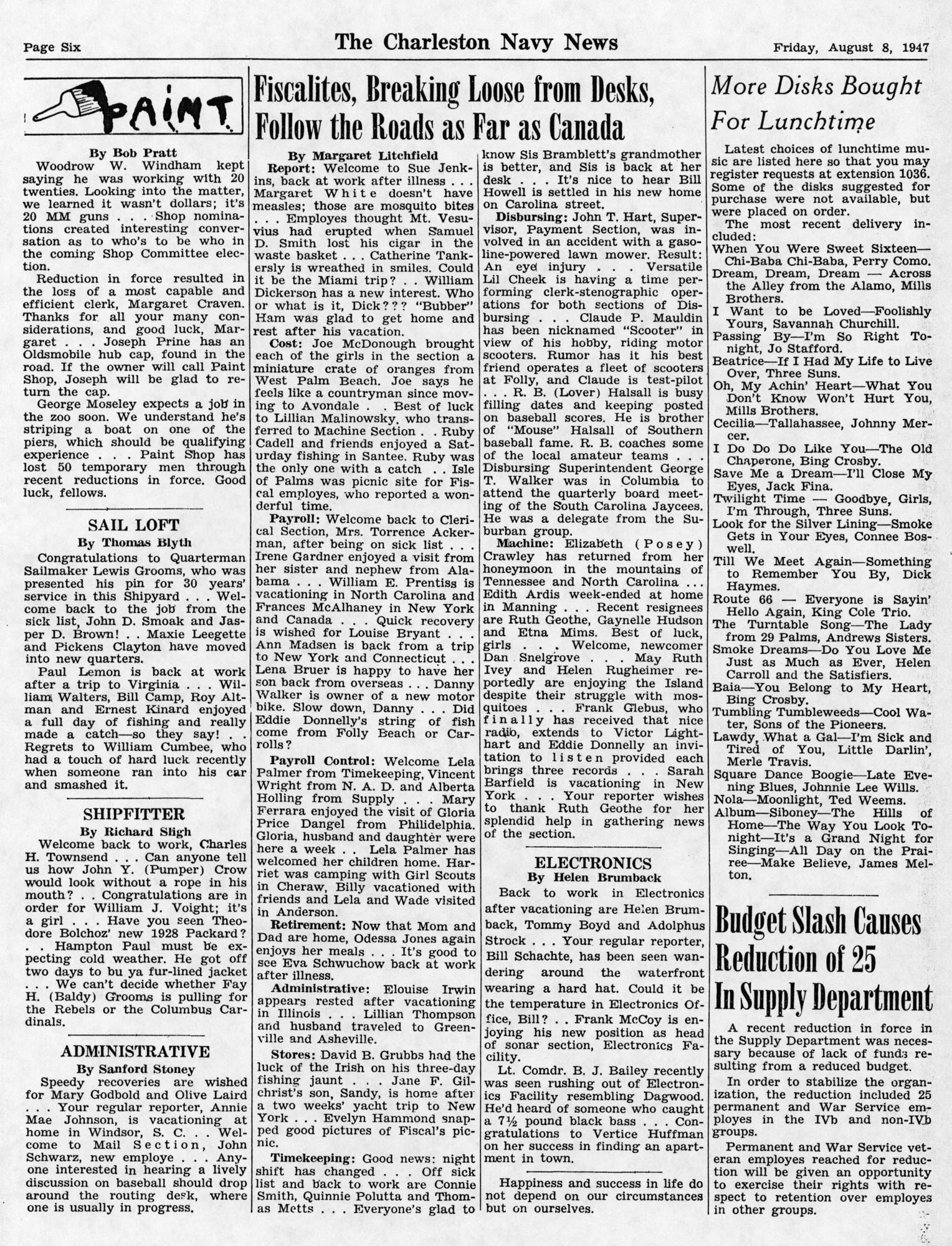 The Charleston Navy News, Volume 6, Edition 1, page vi