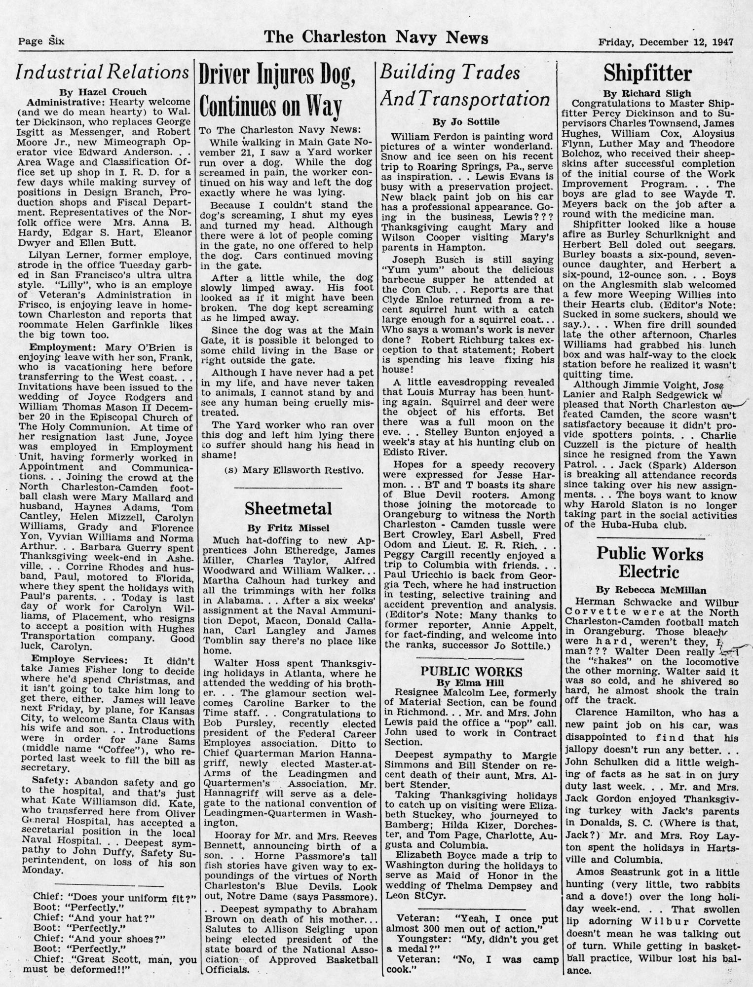 The Charleston Navy News, Volume 6, Edition 10, page vi
