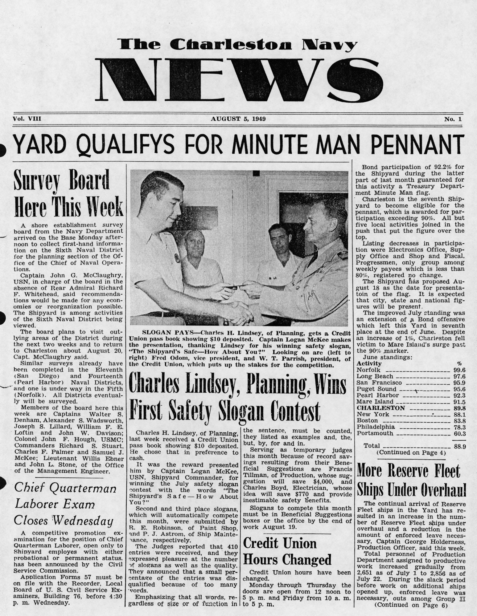 The Charleston Navy News, Volume 8, Edition 1, page i