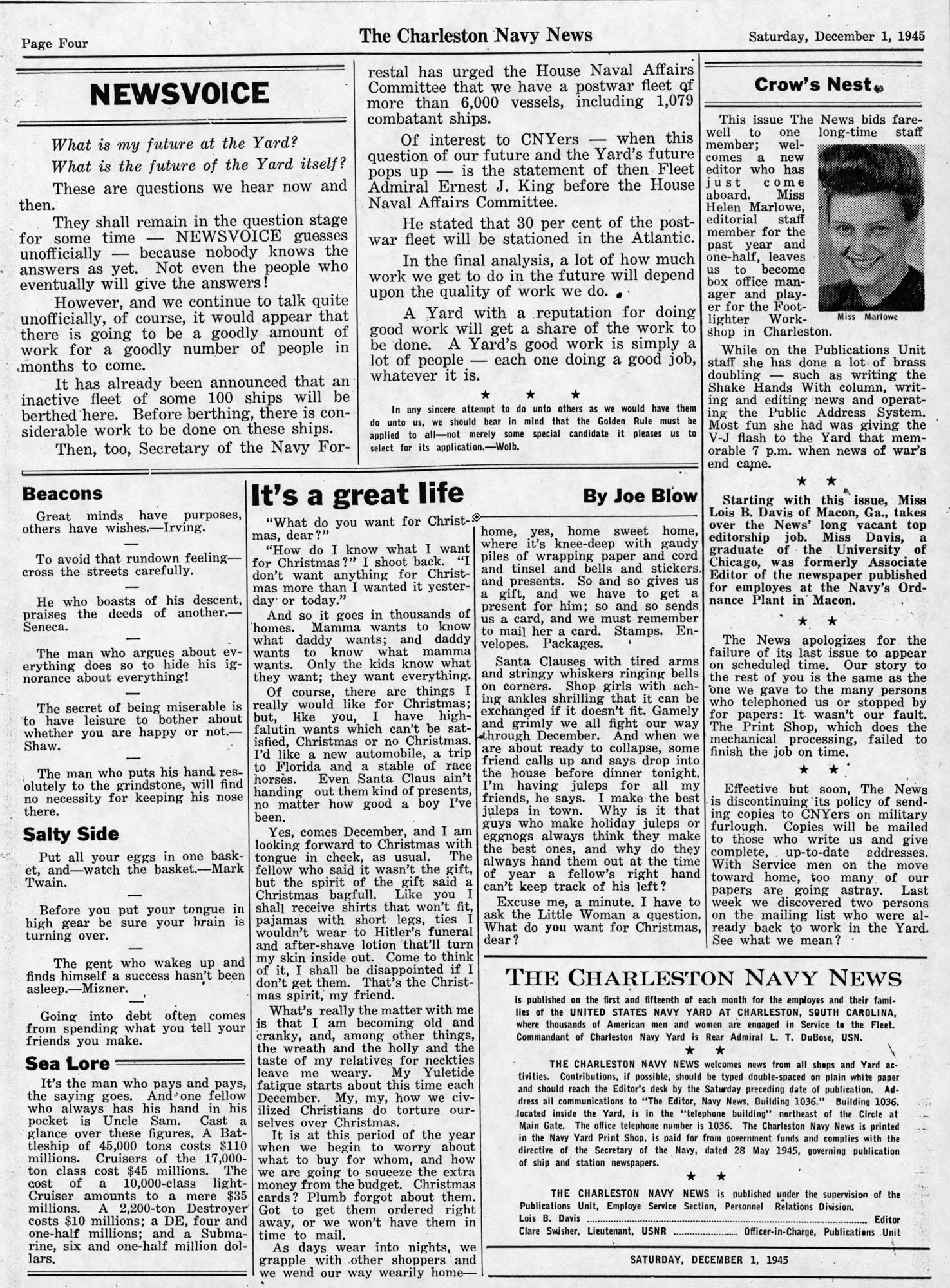 The Charleston Navy News, Volume 4, Edition 11, page iv