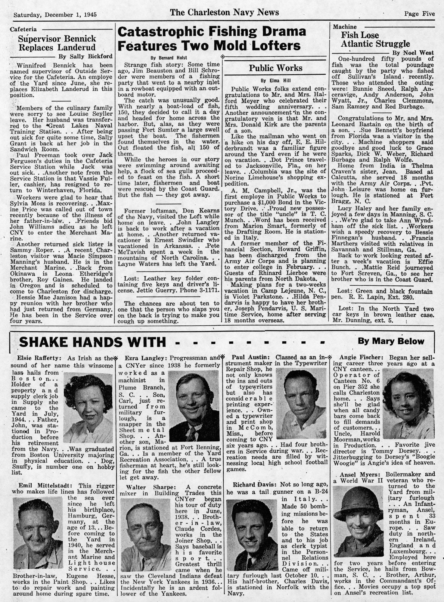 The Charleston Navy News, Volume 4, Edition 11, page v