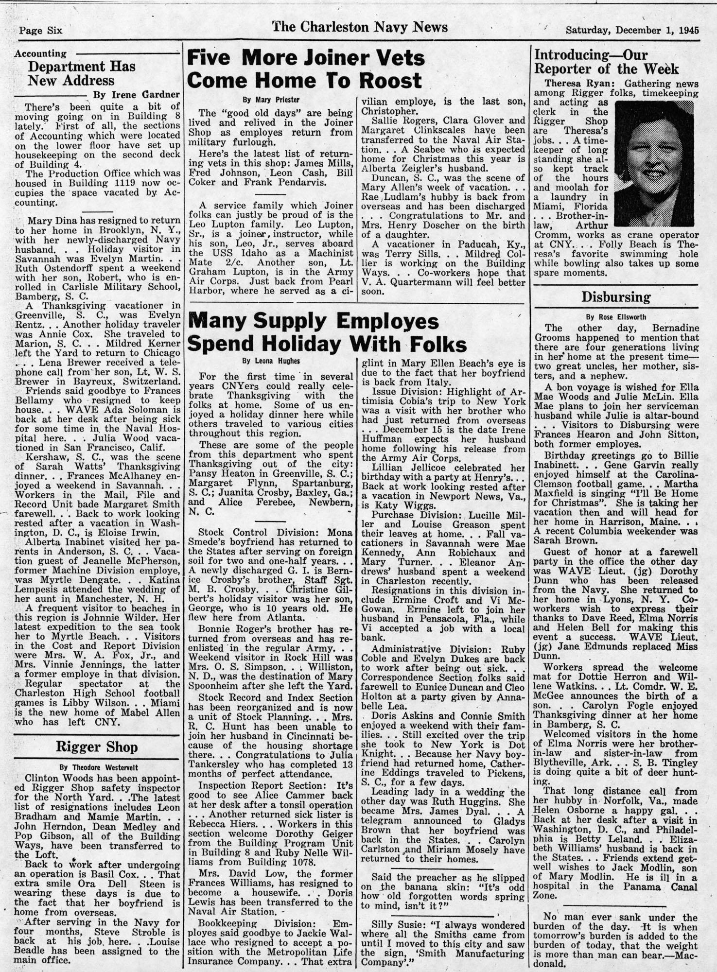 The Charleston Navy News, Volume 4, Edition 11, page vi