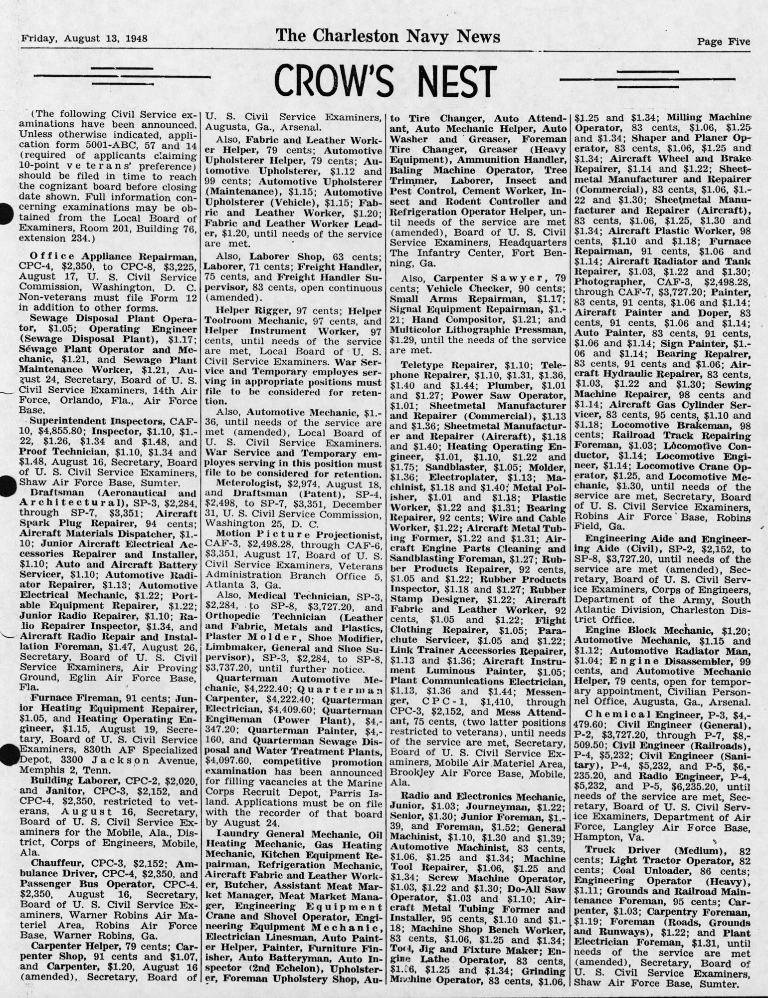 The Charleston Navy News, Volume 7, Edition 1, page v