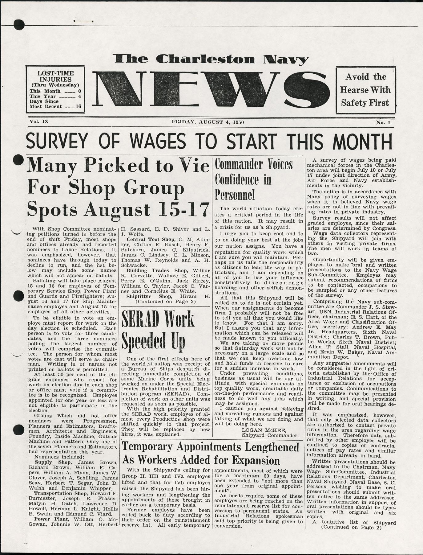 The Charleston Navy News, Volume 9, Edition 1, page i
