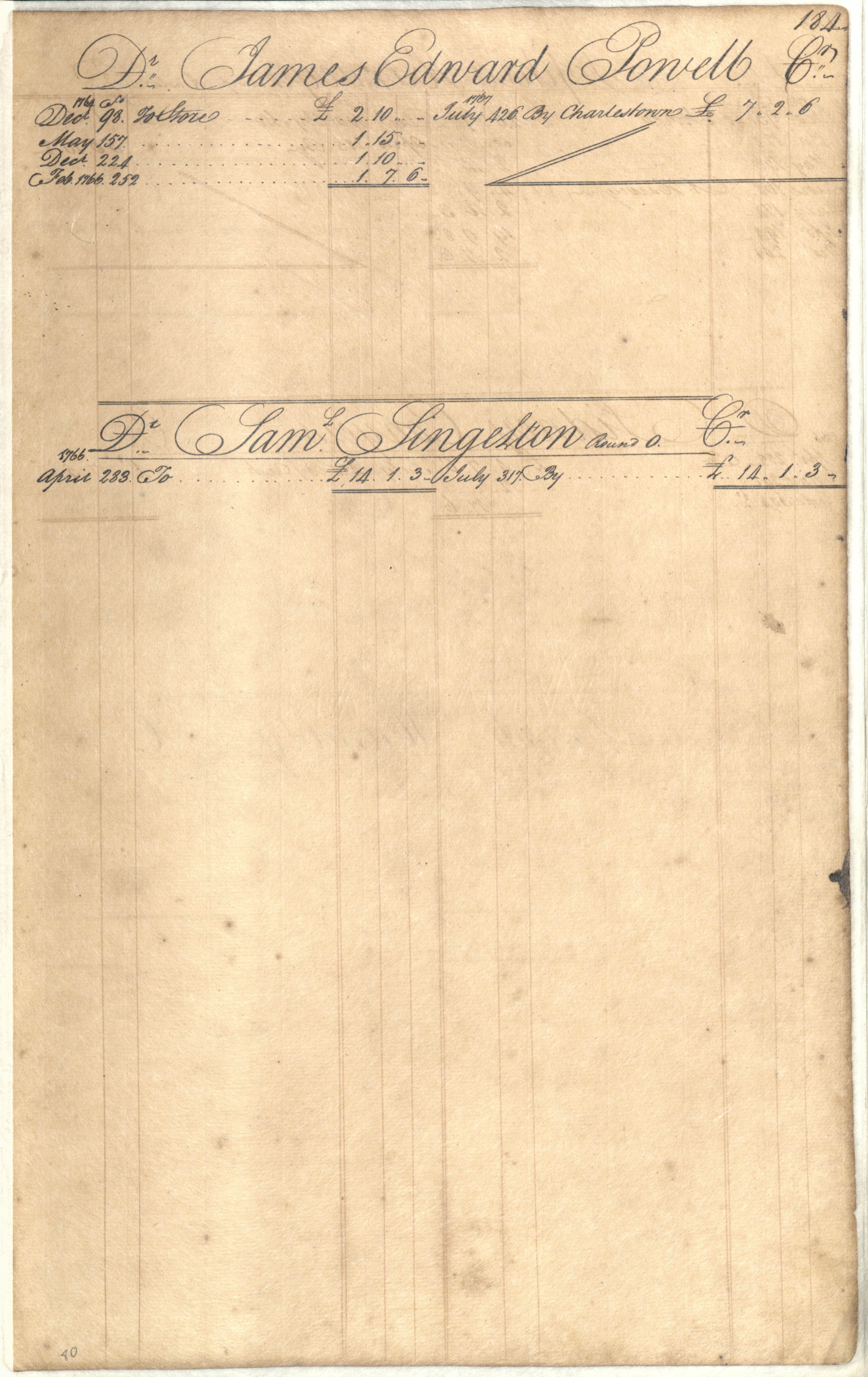 Plowden Weston's Business Ledger, page 184