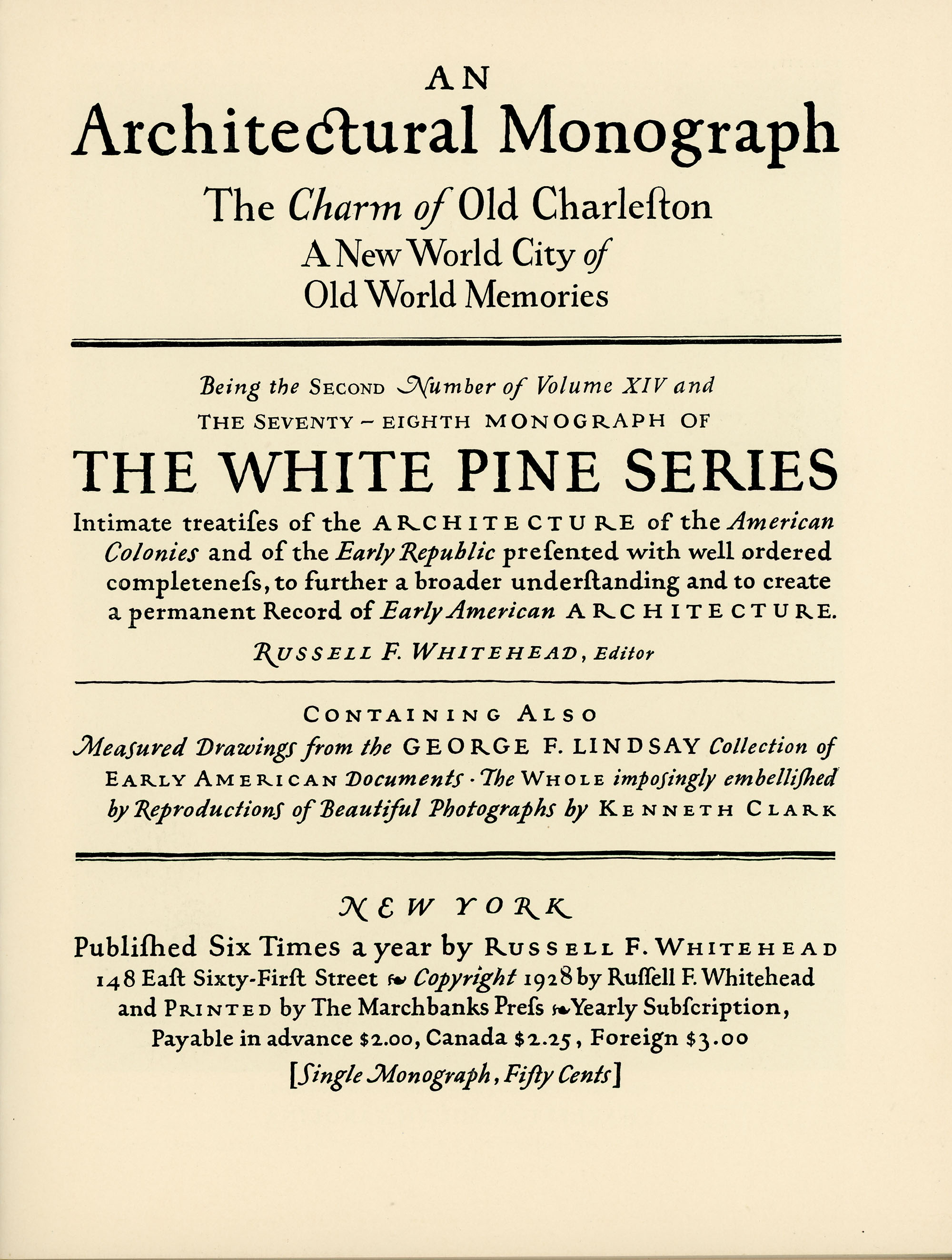 The Charm of Old Charleston: Title Page