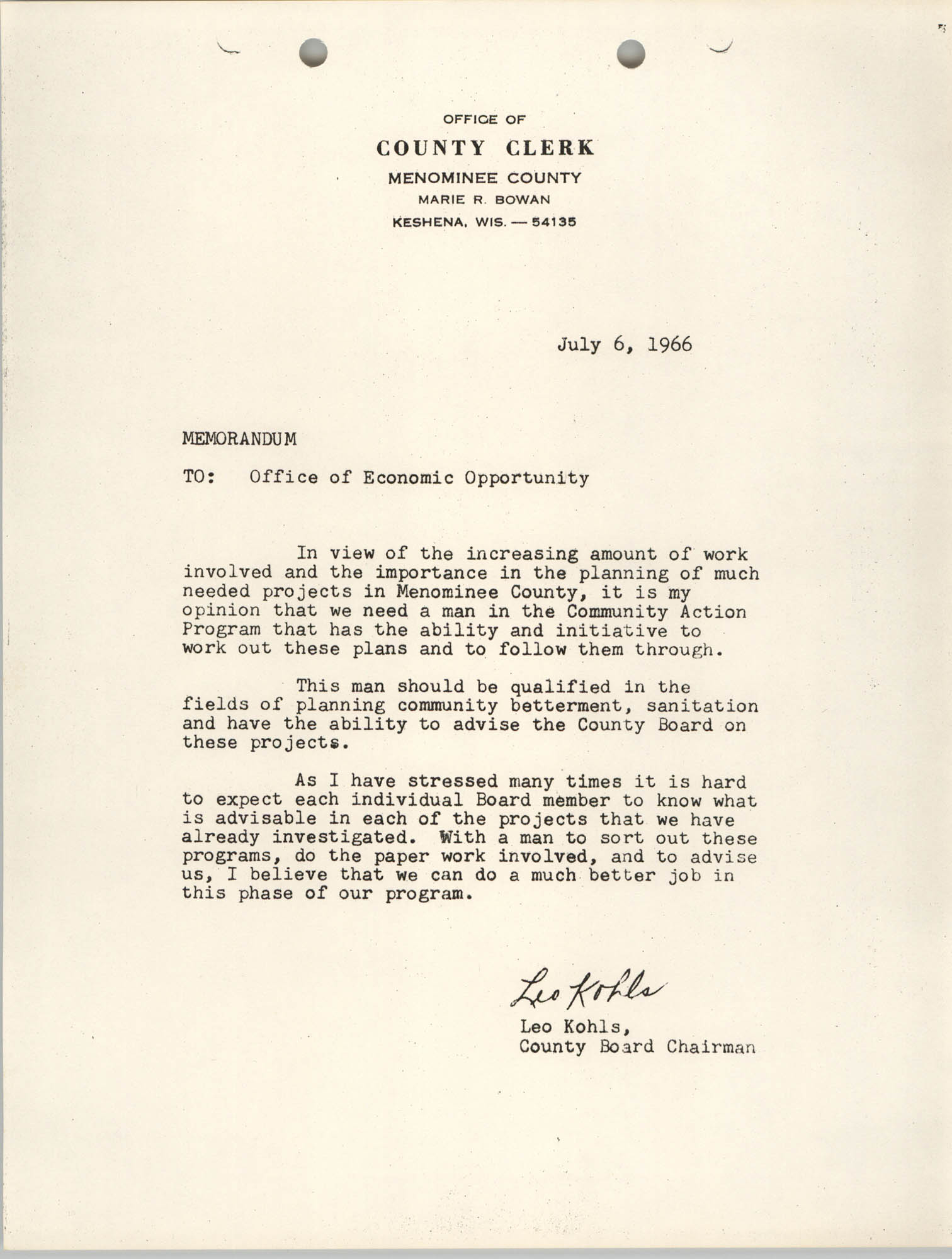 Memorandum from Leo Kohls to Office of Economic Opportunity, July 6, 1966