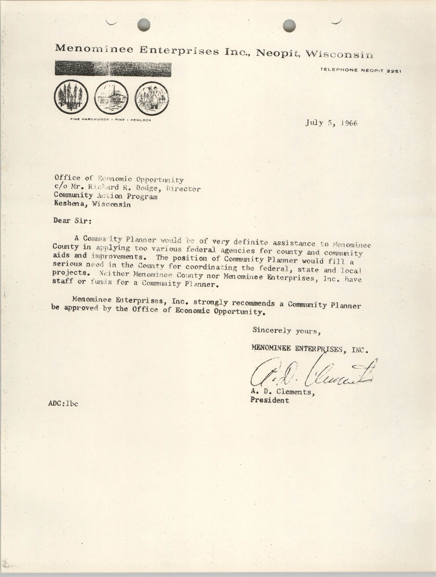 Memorandum from A. D. Clements to Office of Economic Opportunity, July 5, 1966