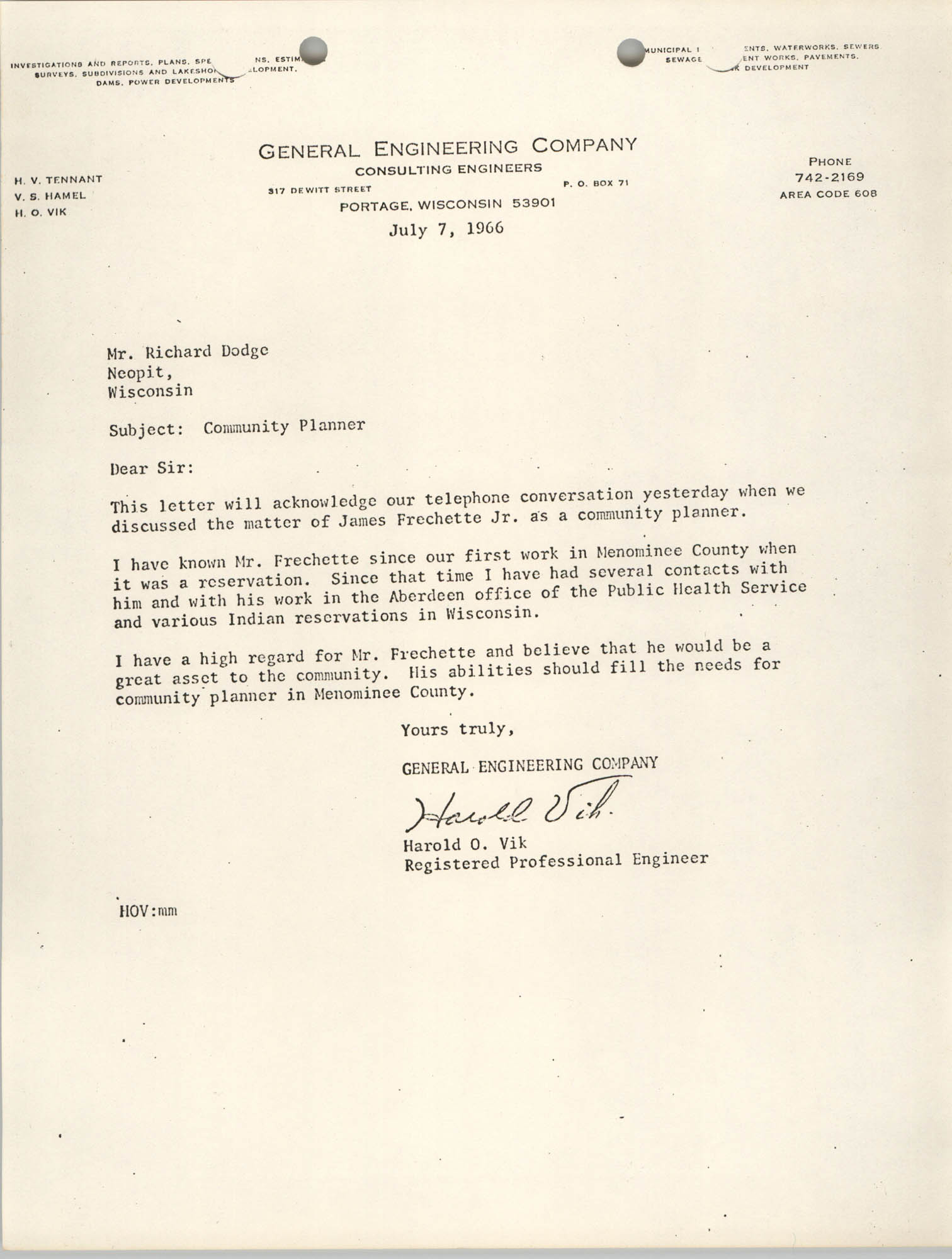 Letter from Harold O. Vik to Richard Dodge, July 7, 1966