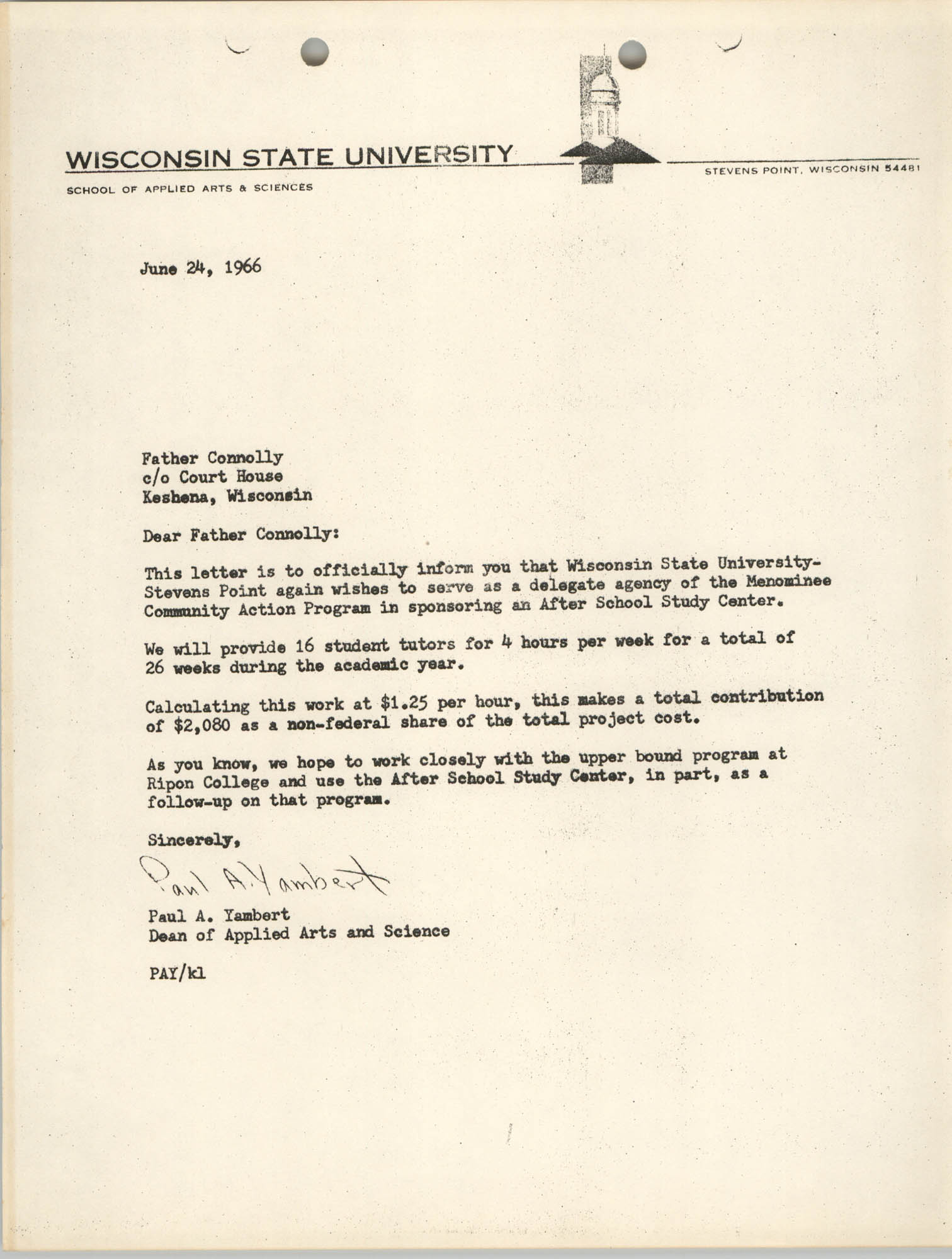 Letter from Paul A. Yambert to Father Connolly, June 24, 1966