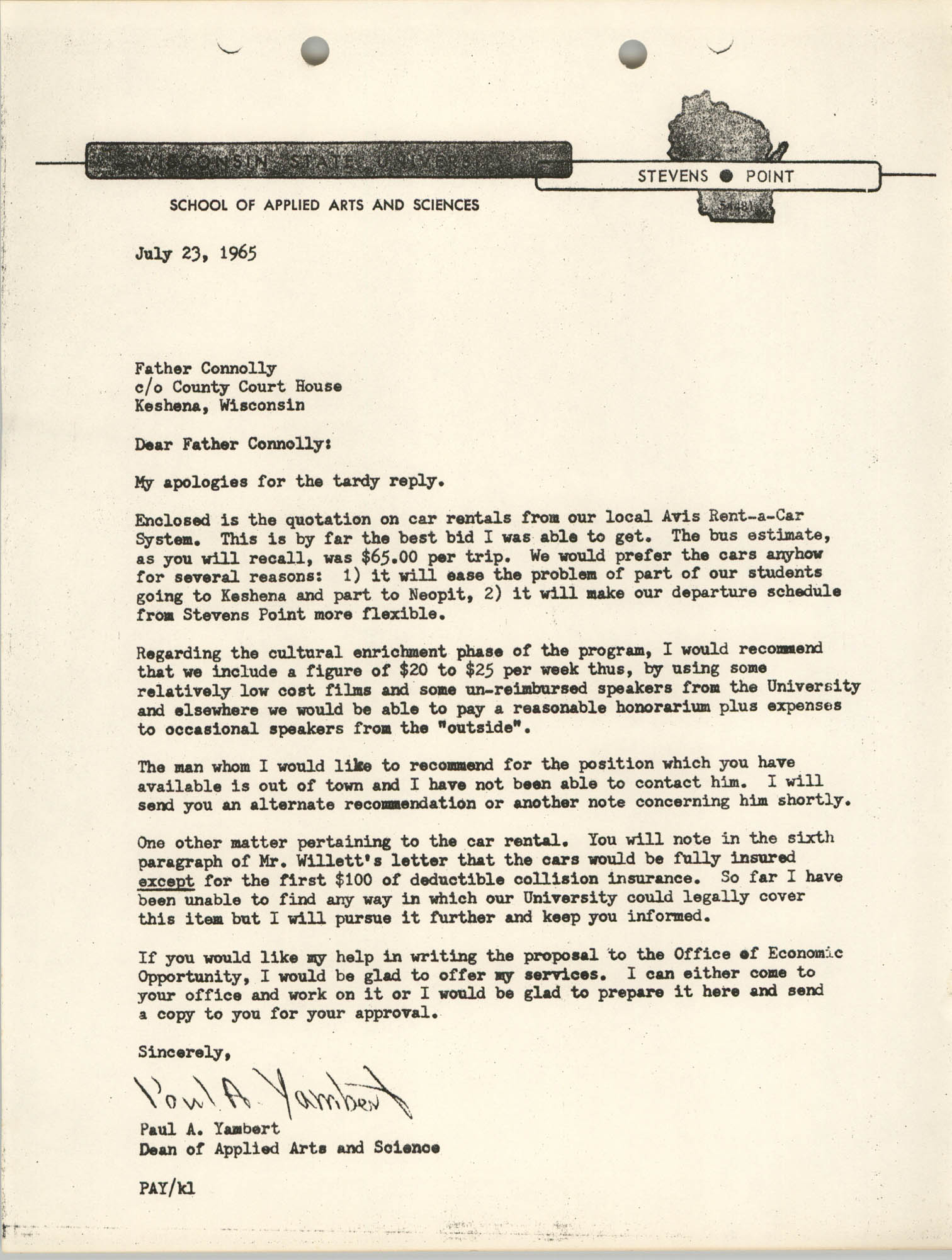 Letter from Paul A. Yambert to Father Connolly, July 23, 1965