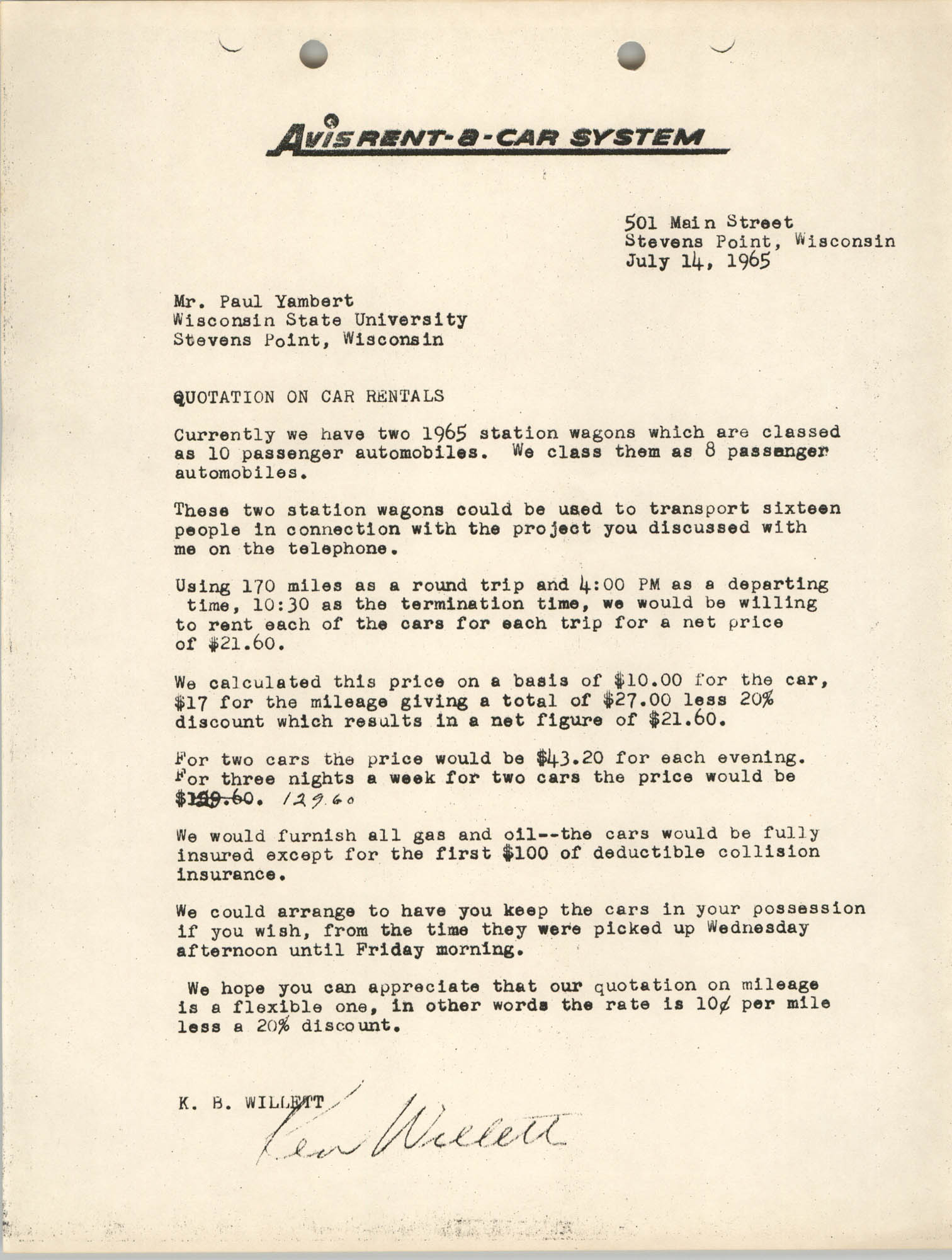 Letter from K. S. Willett to Paul Yambert, July 14, 1965