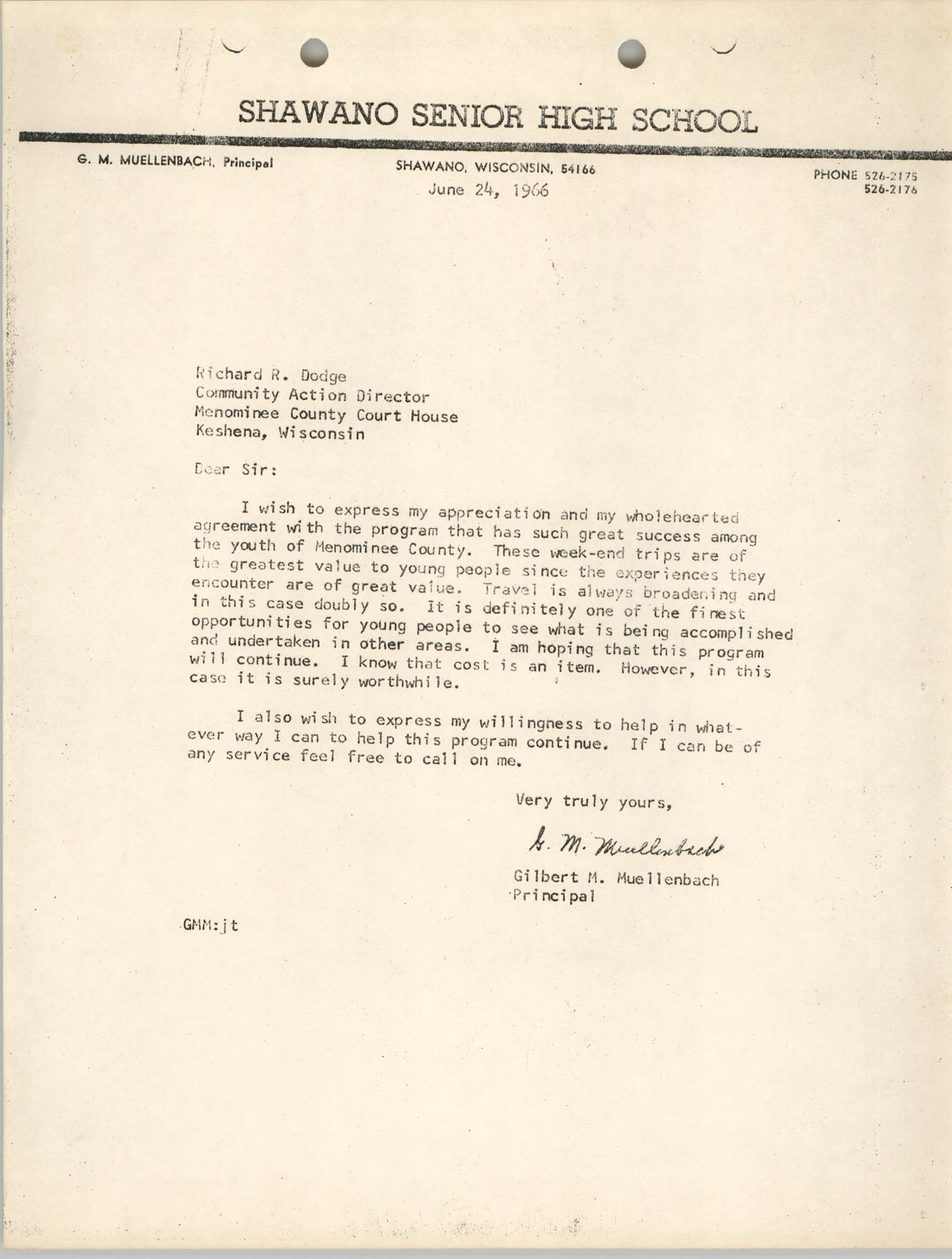Letter from Gilbert Muellenbach to Richard Dodge, June 24, 1966