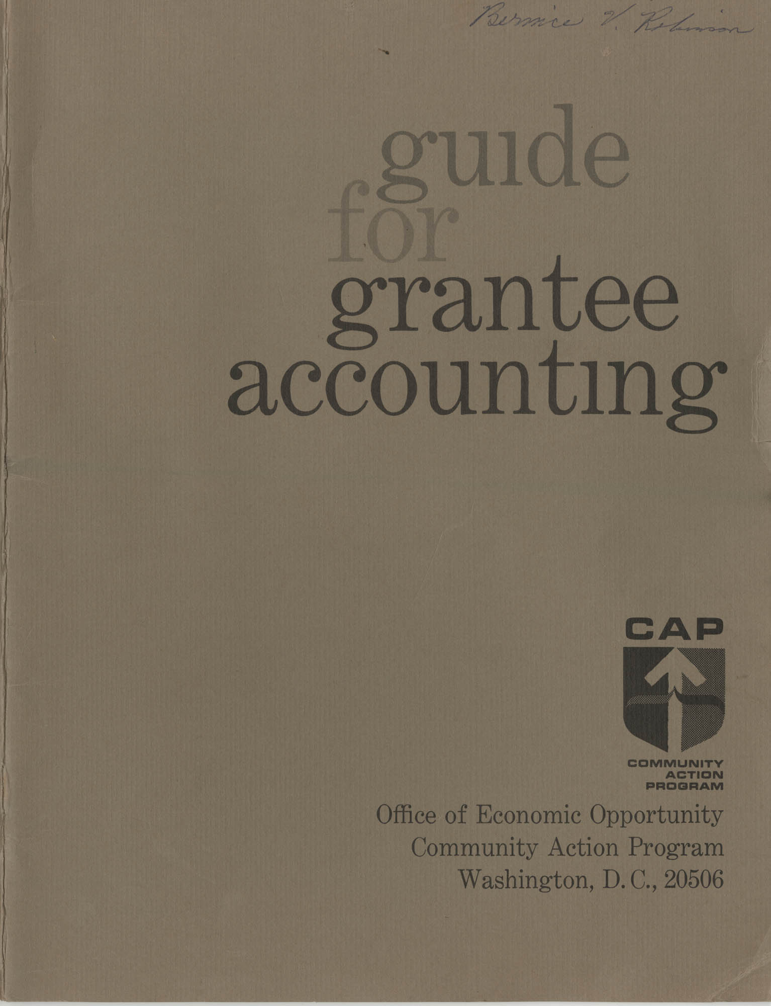 Guide for Grantee Accounting, Front Cover