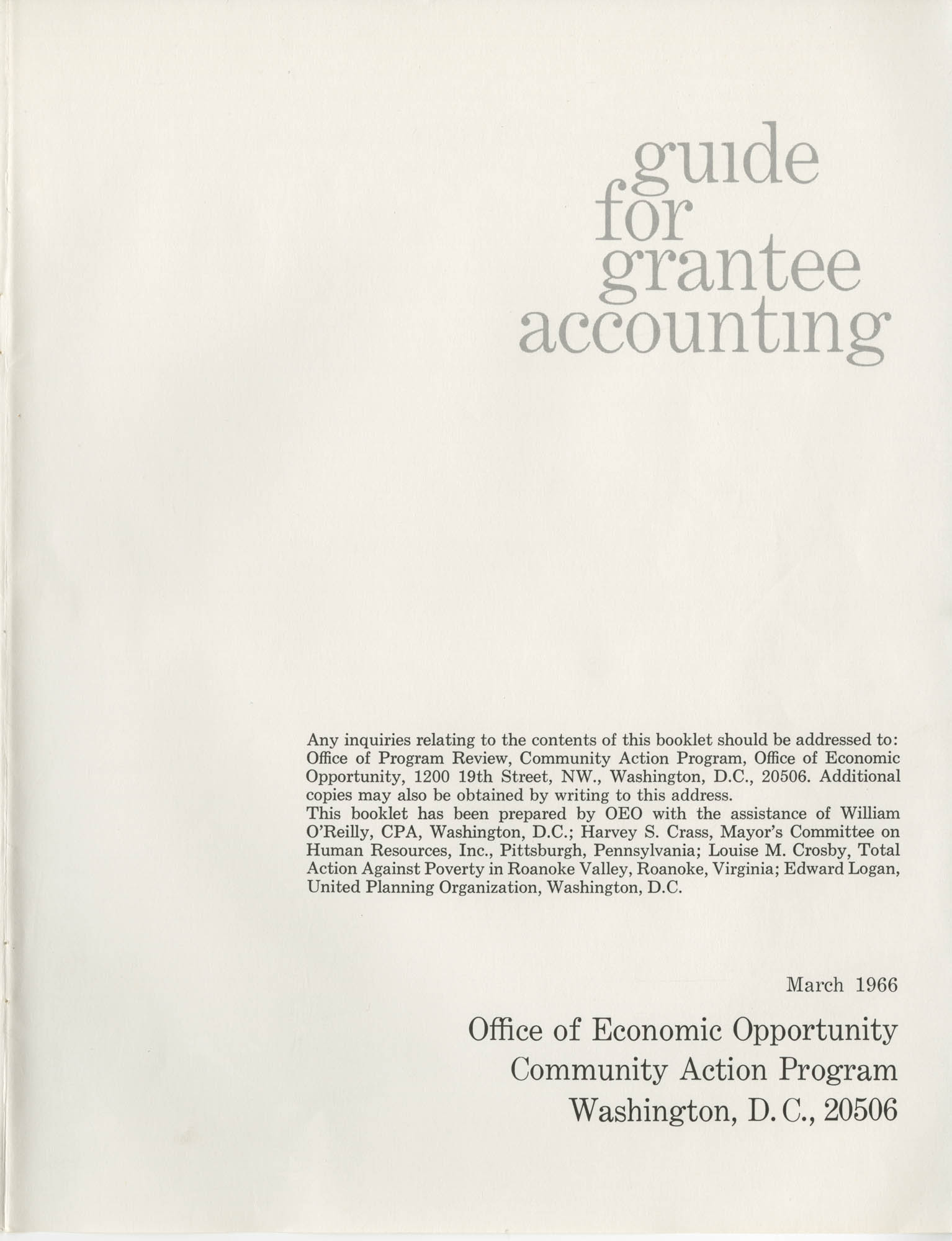 Guide for Grantee Accounting, Title Page